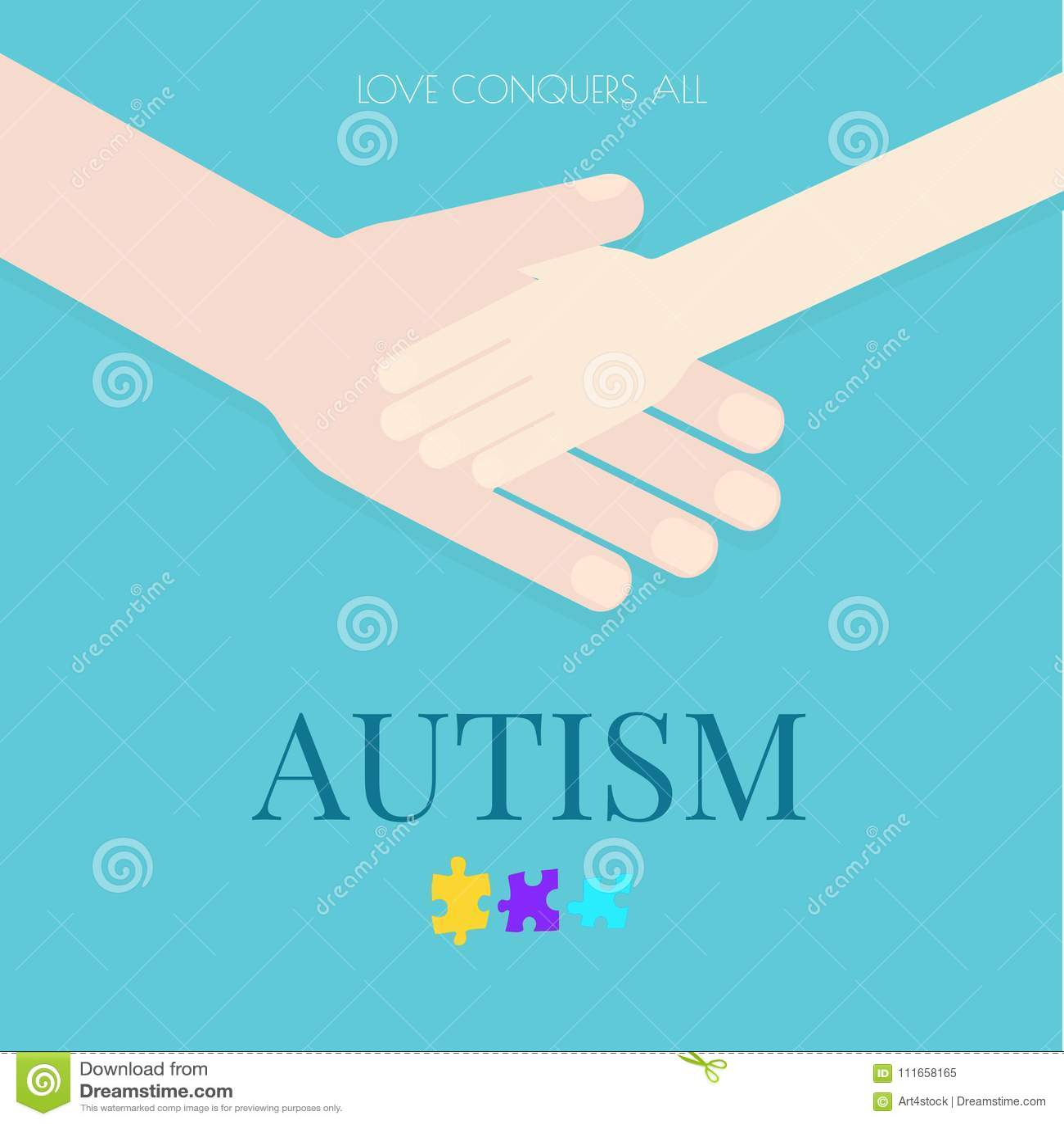 Cartaz do autismo com mãos