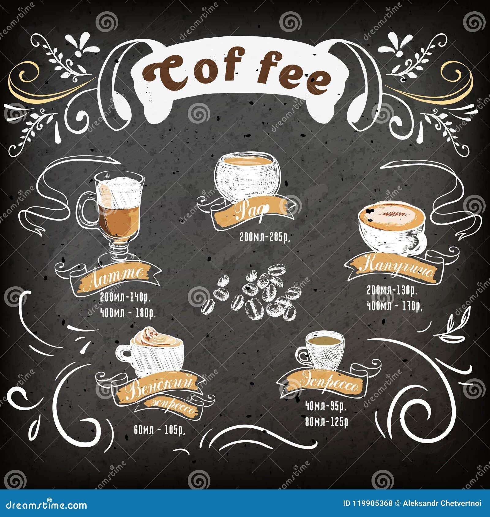 Cartaz do café diferente no desenho do estilo do vintage com giz no quadro-negro Assortiment do café Café da rotulação: Latte, ta