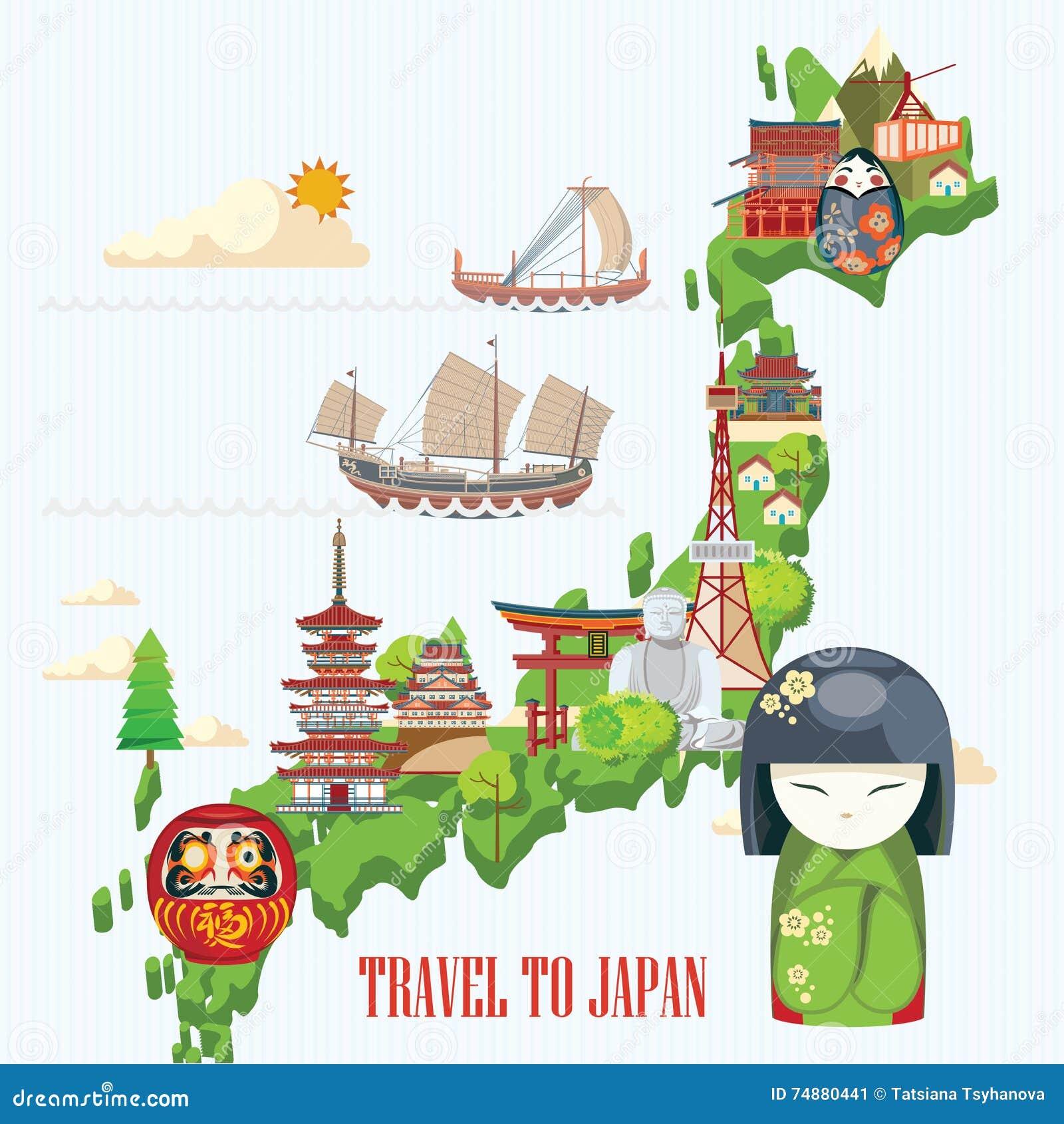 Cartaz do curso de Japão com mapa - viaje a Japão