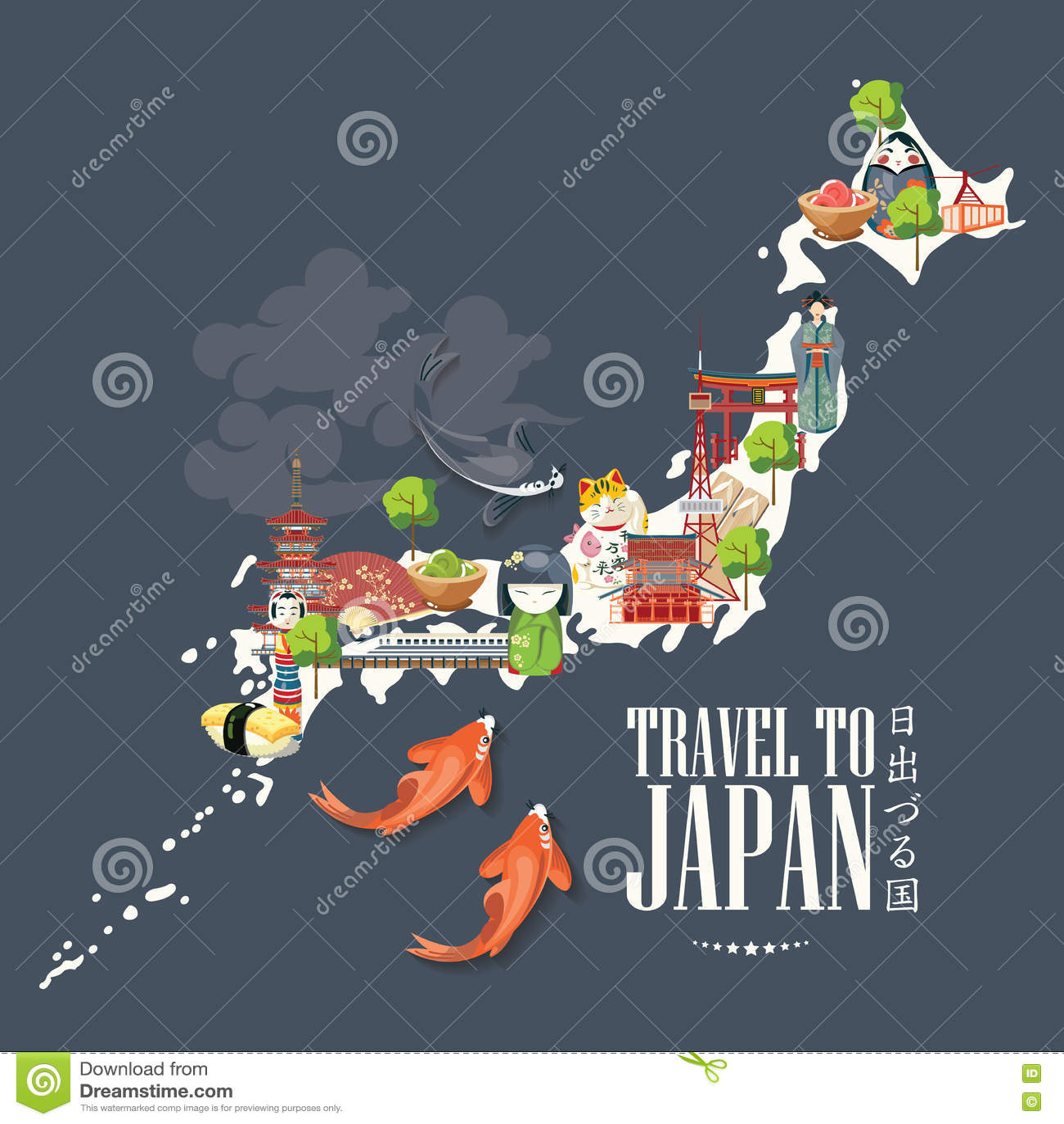 Cartaz do curso de Japão com o mapa no fundo escuro - viaje a Japão