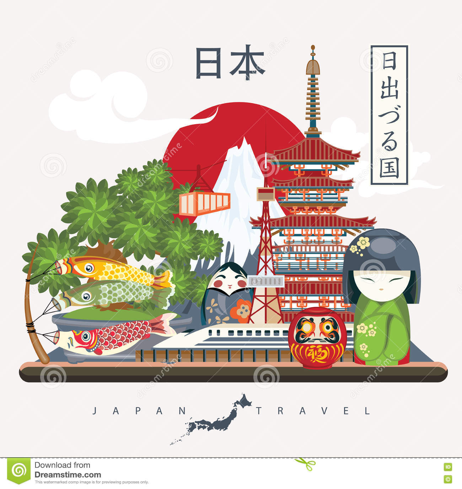 Cartaz do curso de Japão com pagode e fuji - viaje a Japão