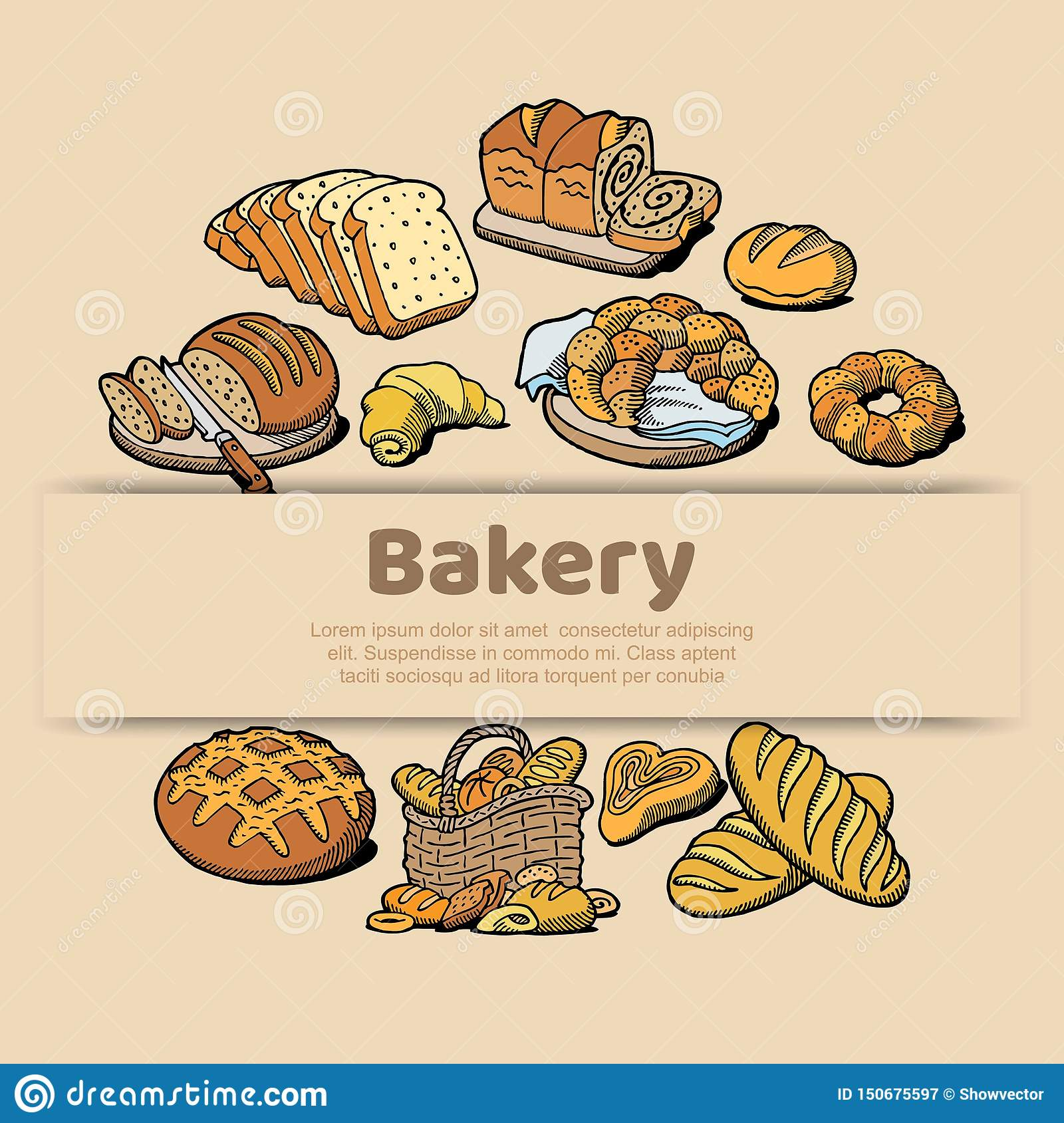 Cartaz do esboço da padaria ou da casa do pão do pão cozido Molde do projeto do vetor para a loja do padeiro do bagel fresco do p