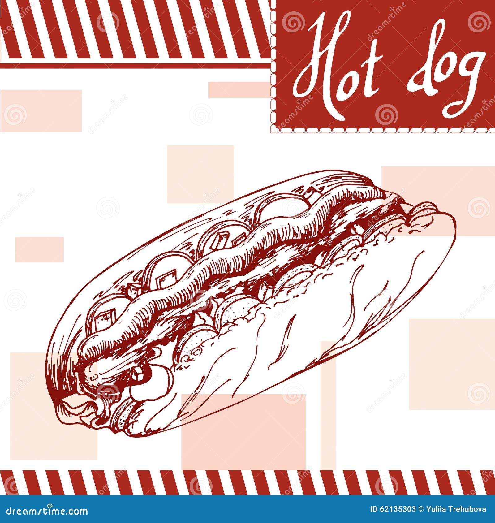 Cartaz do fast food com cachorro quente Ilustração retro da tração da mão Projeto do hamburguer do vintage molde