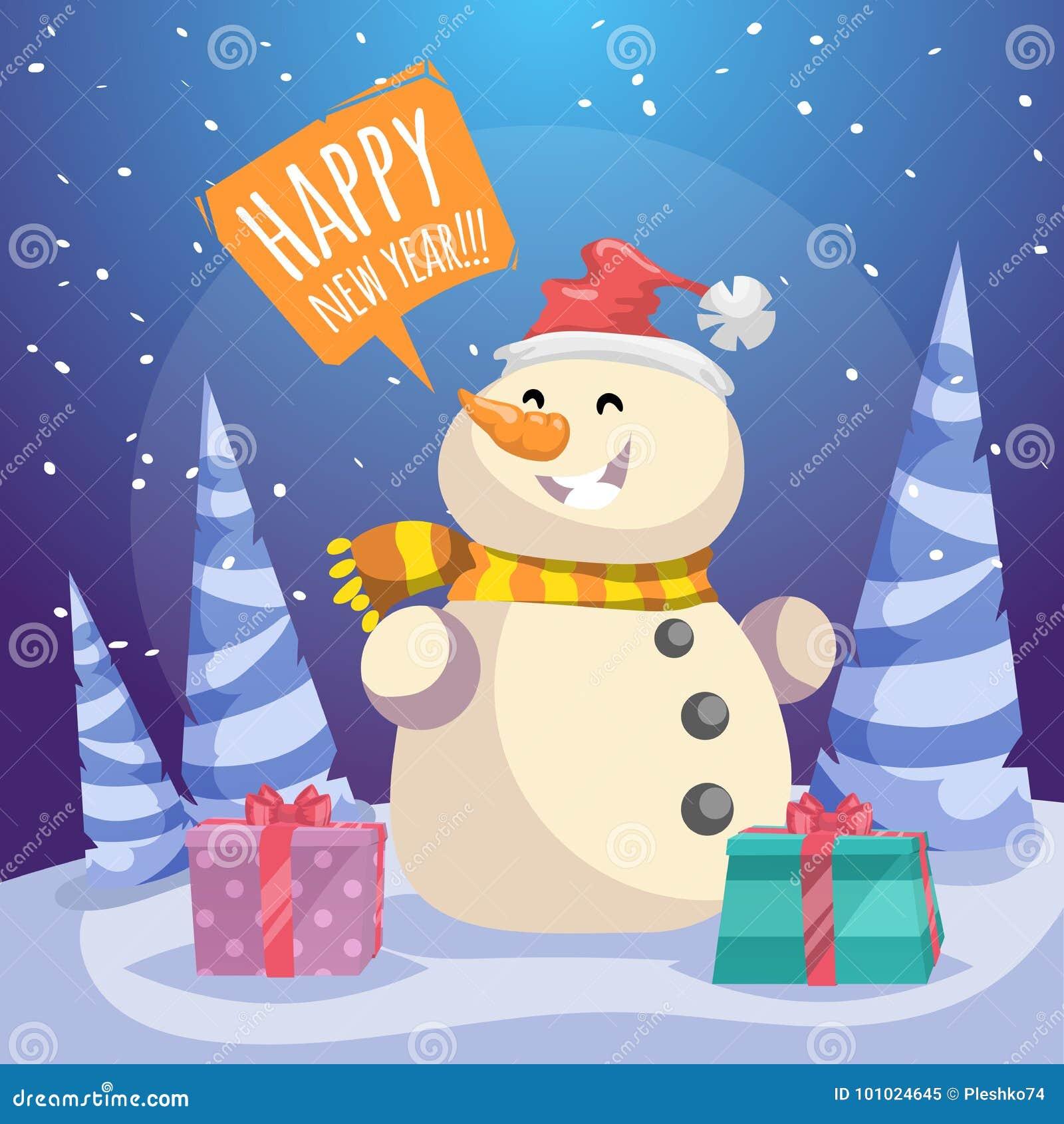 Cartaz Do Feliz Natal Dos Desenhos Animados Boneco De Neve De Riso