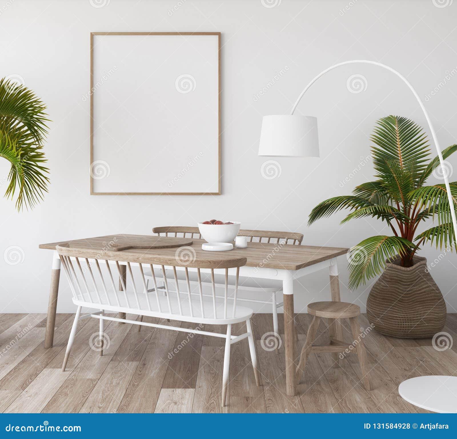 Cartaz do modelo no fundo tropical da sala de visitas, estilo de Scandi-boho