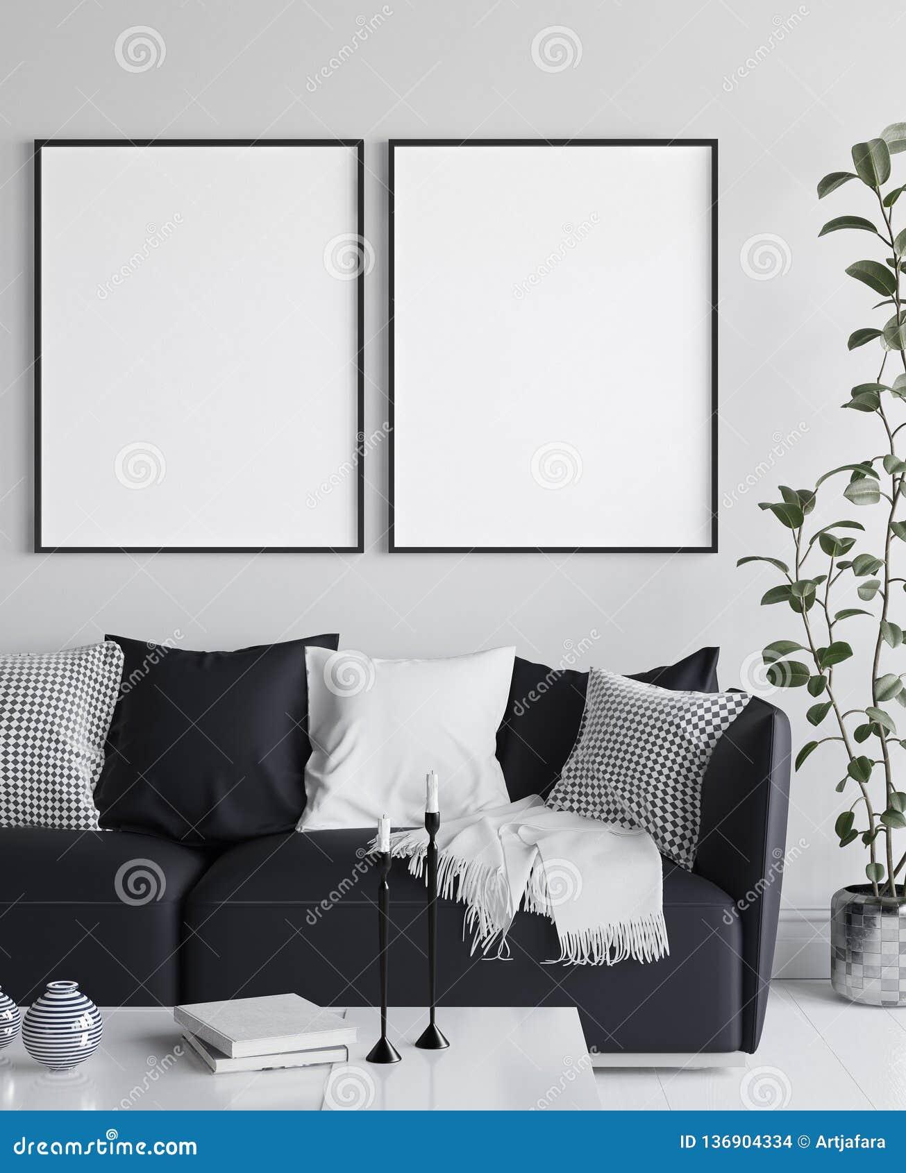 Cartaz do modelo no interior da sala de visitas, estilo escandinavo