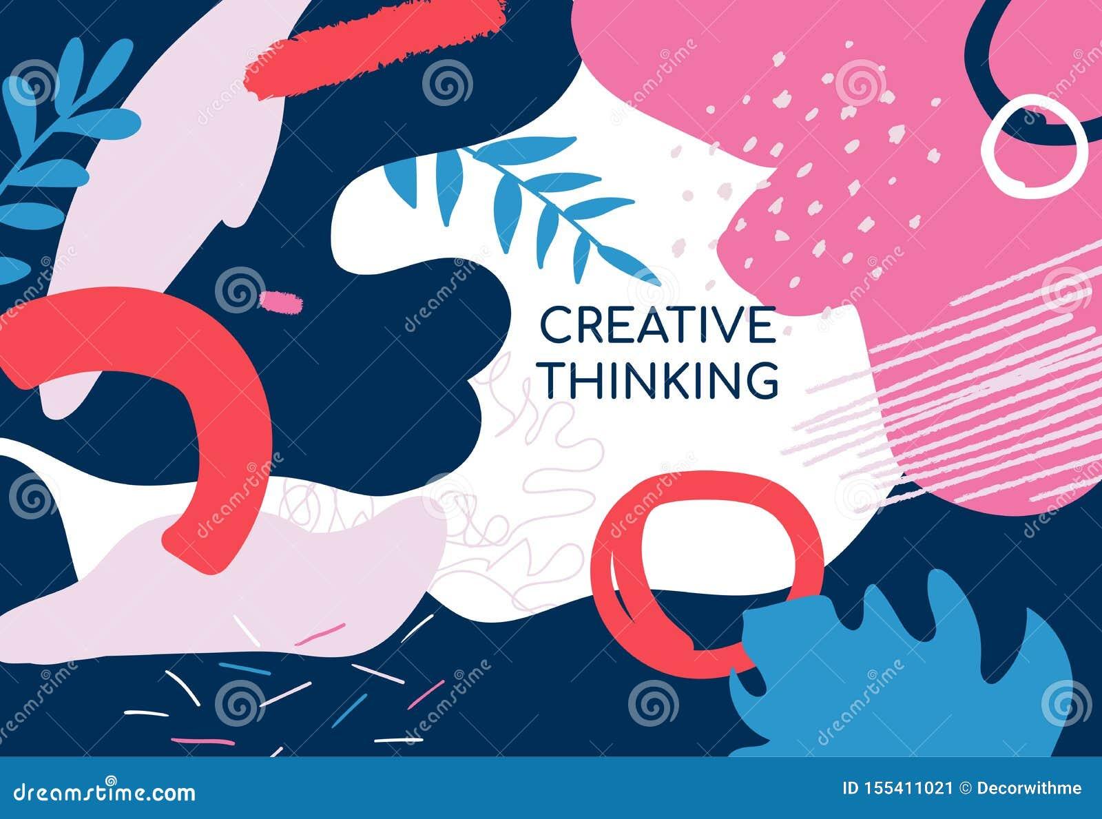 Cartaz do pensamento criativo - bandeira minimalistic do vetor moderno
