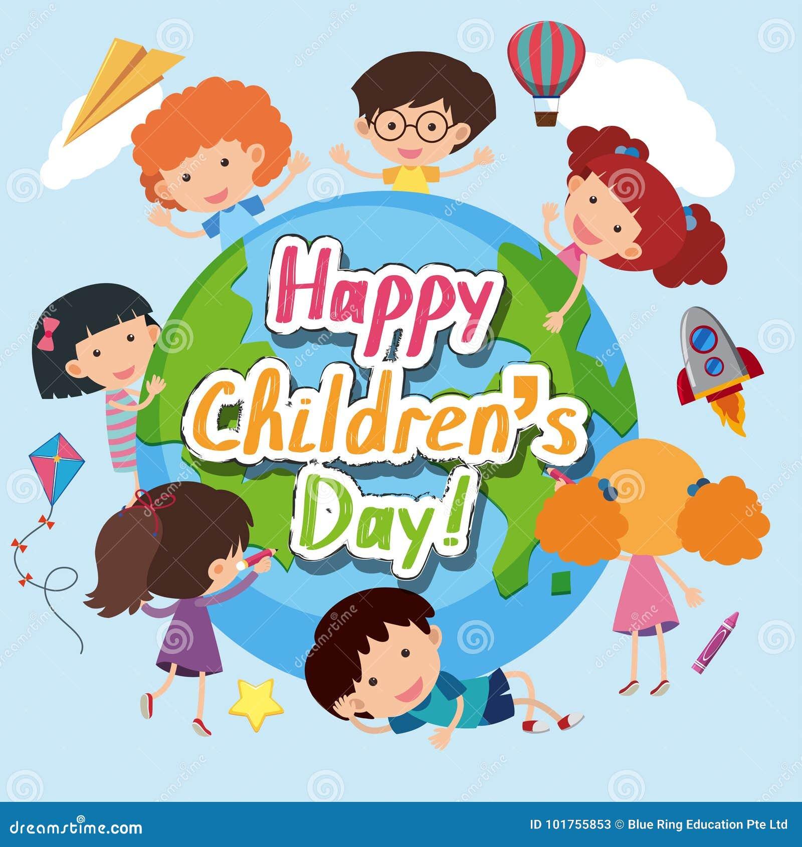 Cartaz feliz do dia do ` s das crianças com crianças felizes em todo o mundo