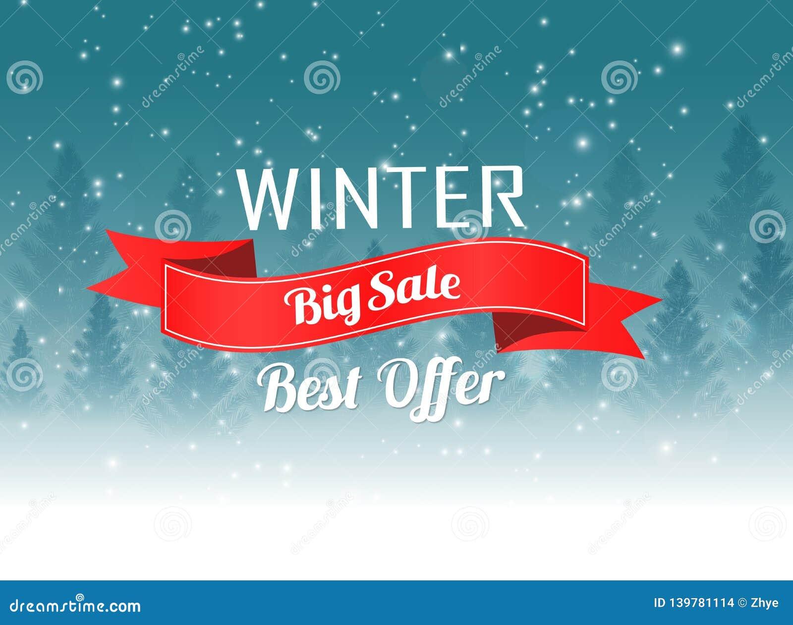 Cartaz grande da venda do inverno com fundo da paisagem do inverno do Natal