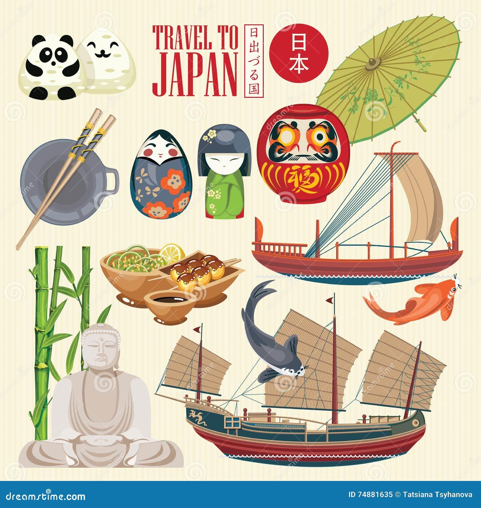 Cartaz lindo do curso de Japão Ícones japoneses da cultura | VERMELHO um