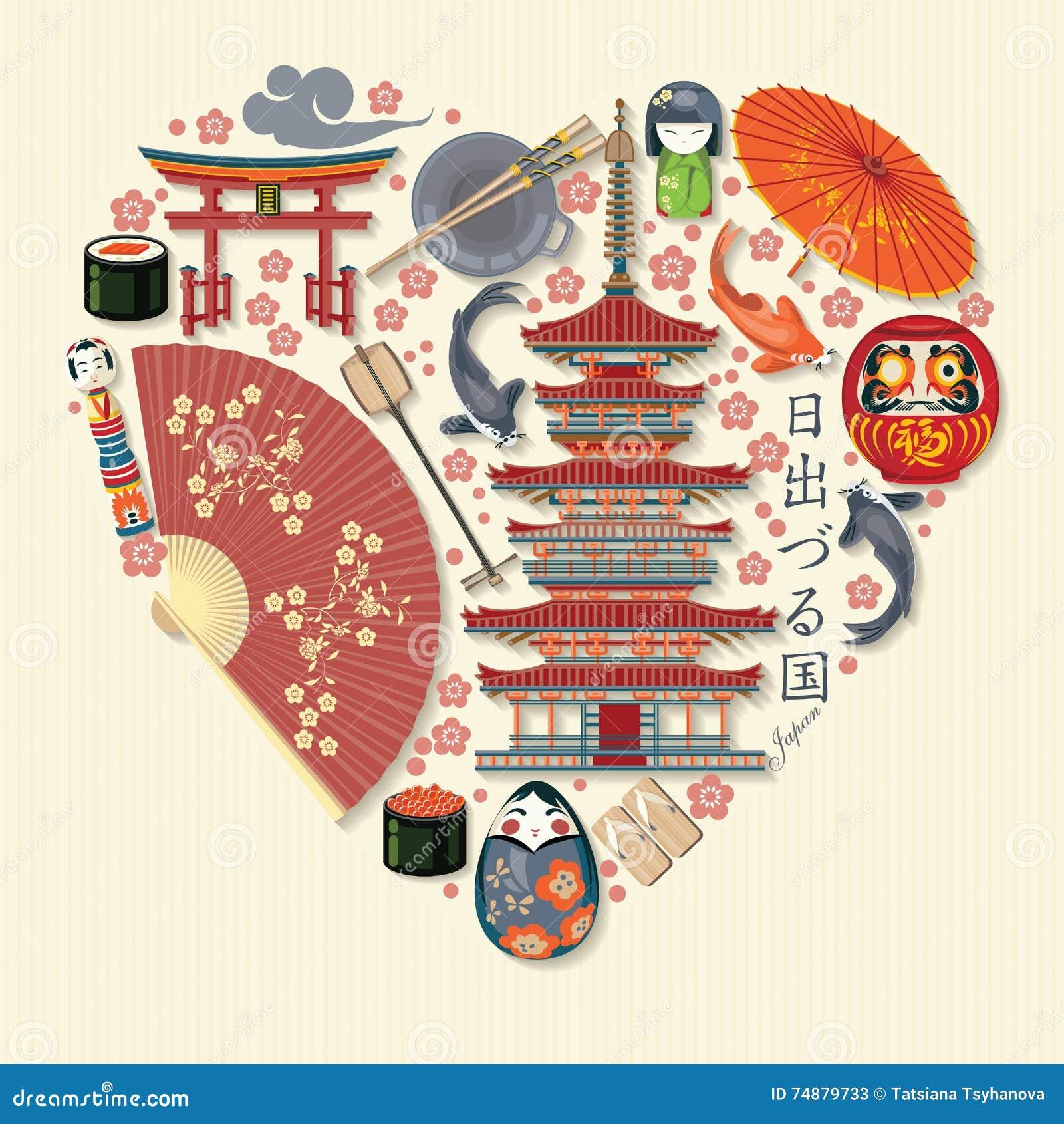 Cartaz lindo do curso de Japão - viaje a Japão
