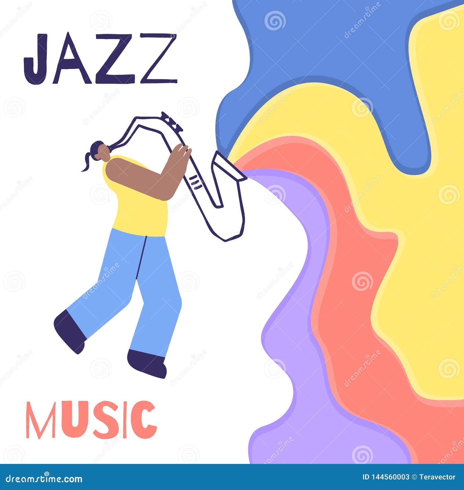 Cartaz liso da cor de Jazz Man Saxophone Music Sound
