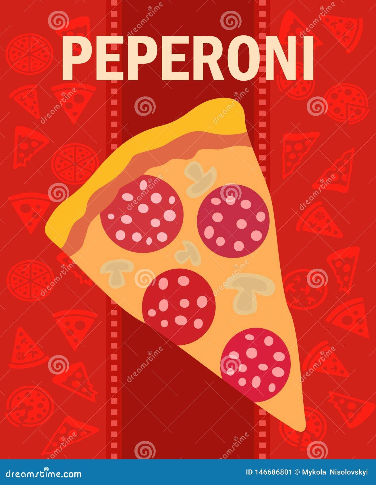 Cartaz liso do vetor da fatia saboroso da pizza de Pepperoni