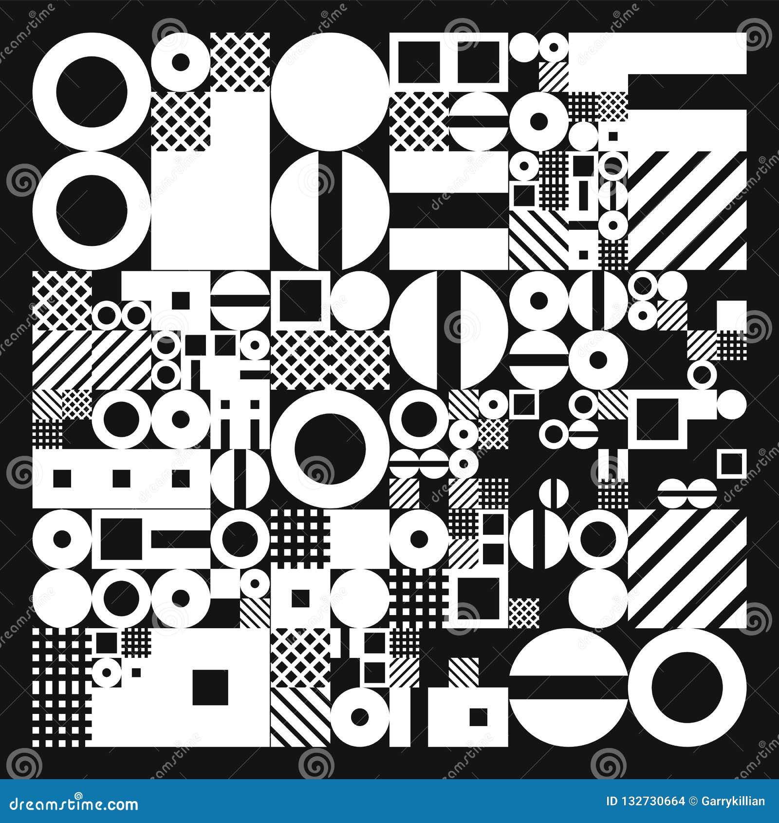 Cartaz minimalistic do vetor com formas simples Geométrico processual Disposição suíça do sumário do estilo Generative conceptual