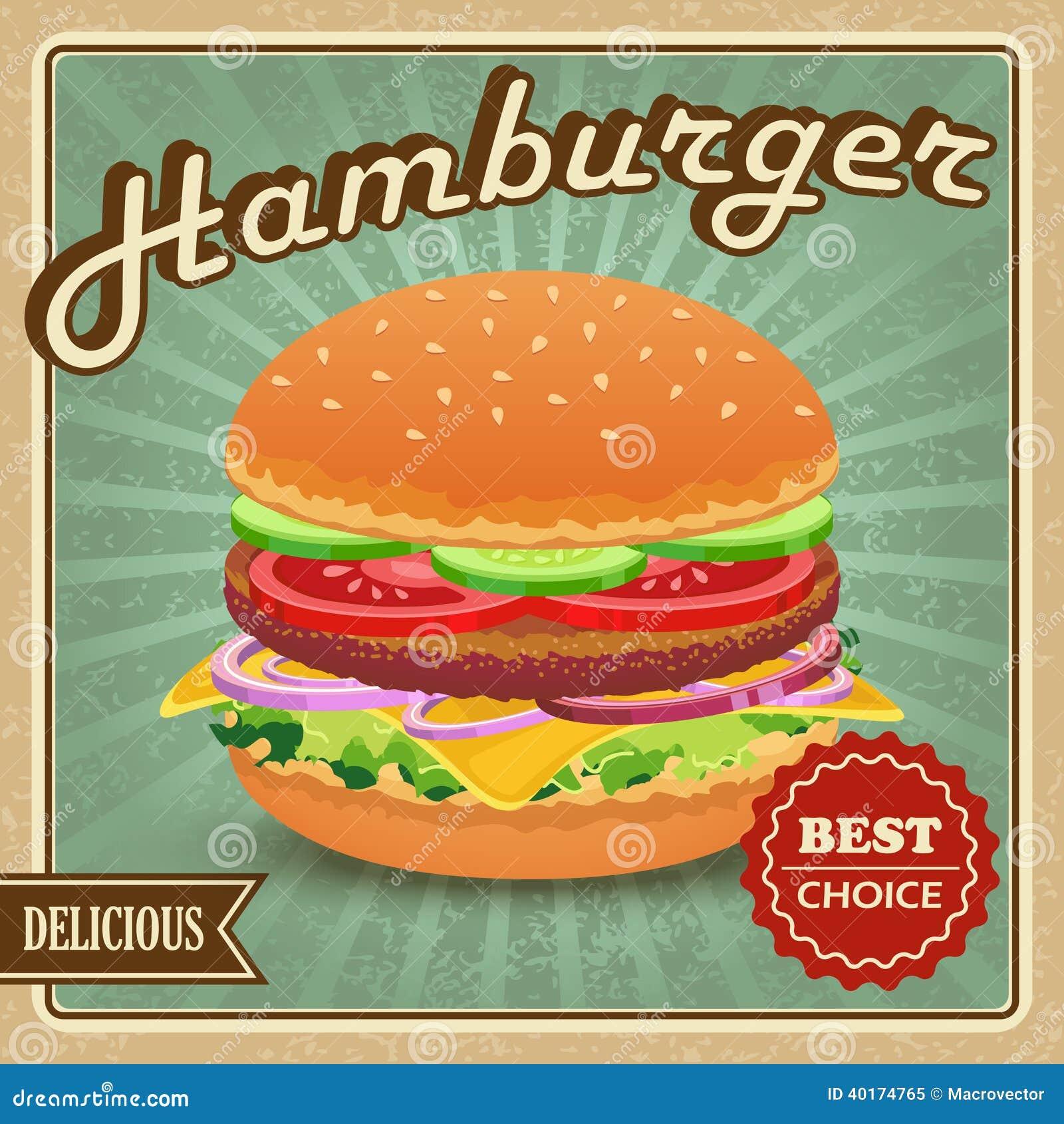 Cartaz retro do Hamburger