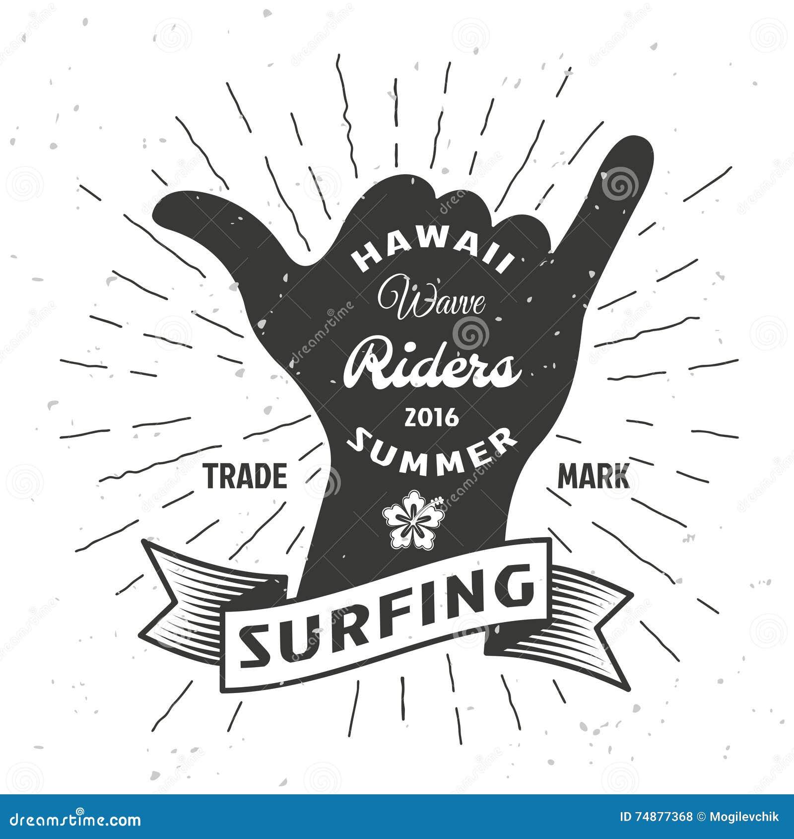 Cartaz surfando da mão
