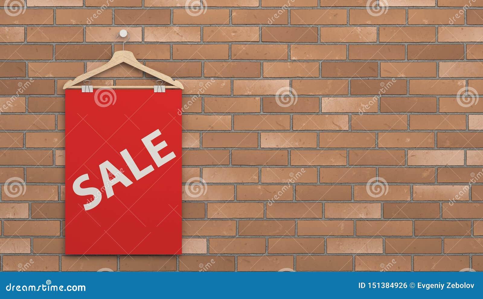 Cartaz vermelho da venda no gancho