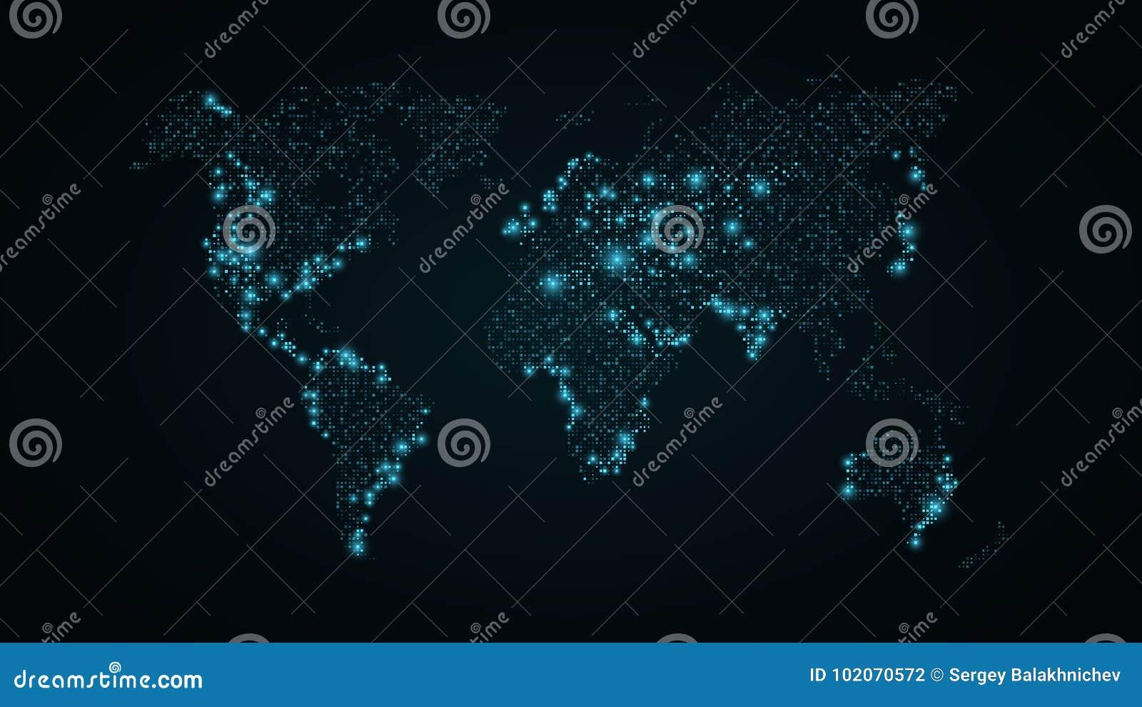 Carte abstraite du monde Carte bleue de la terre des points carrés Fond bleu-foncé Lumières bleues De pointe Technologie de la sc