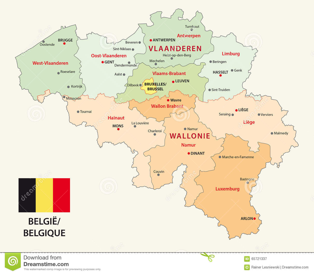 carte administrative de la belgique avec le drapeau illustration de vecteur illustration du. Black Bedroom Furniture Sets. Home Design Ideas