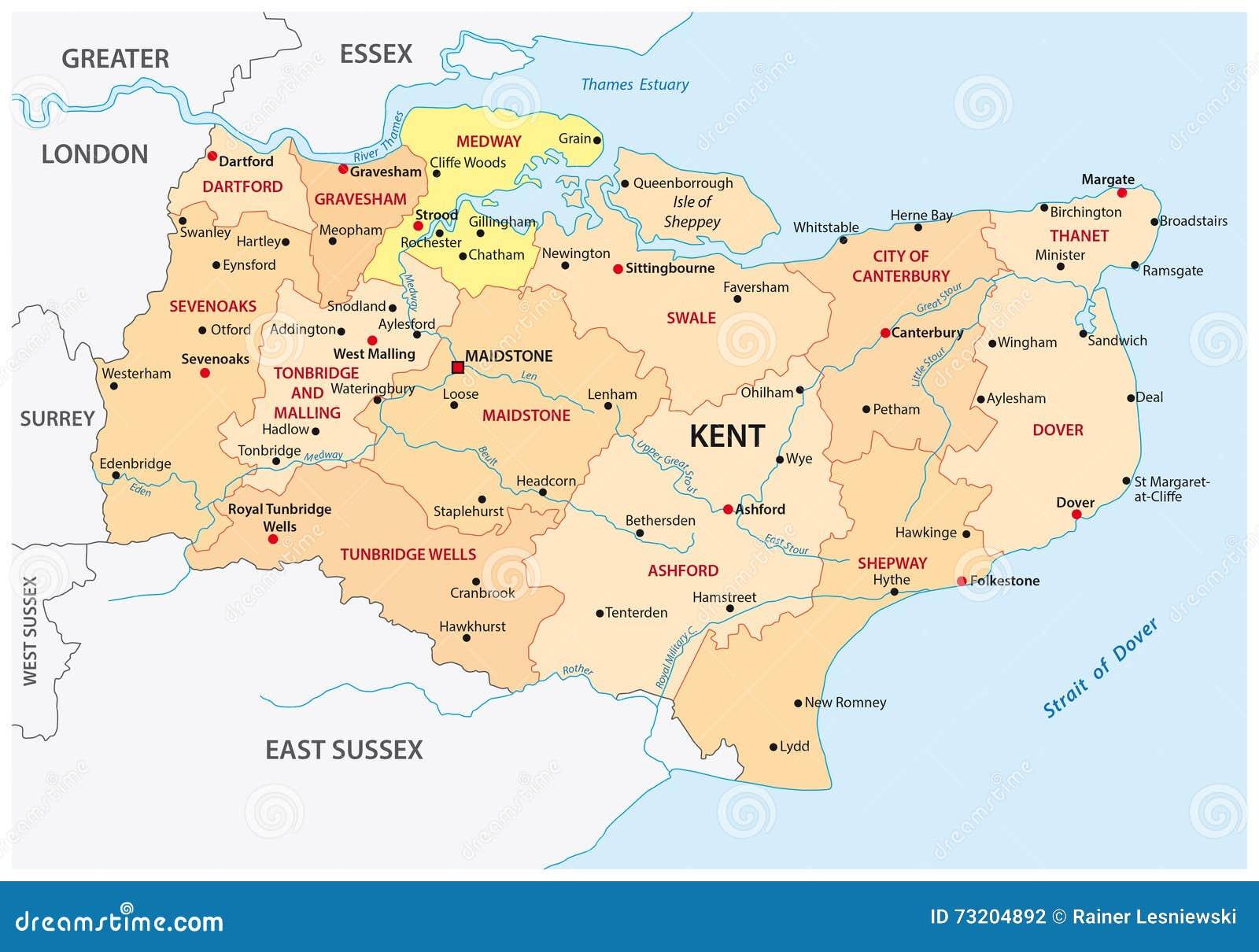 Carte Angleterre Le Kent.Carte Administrative Du Comte De Kent Illustration Stock