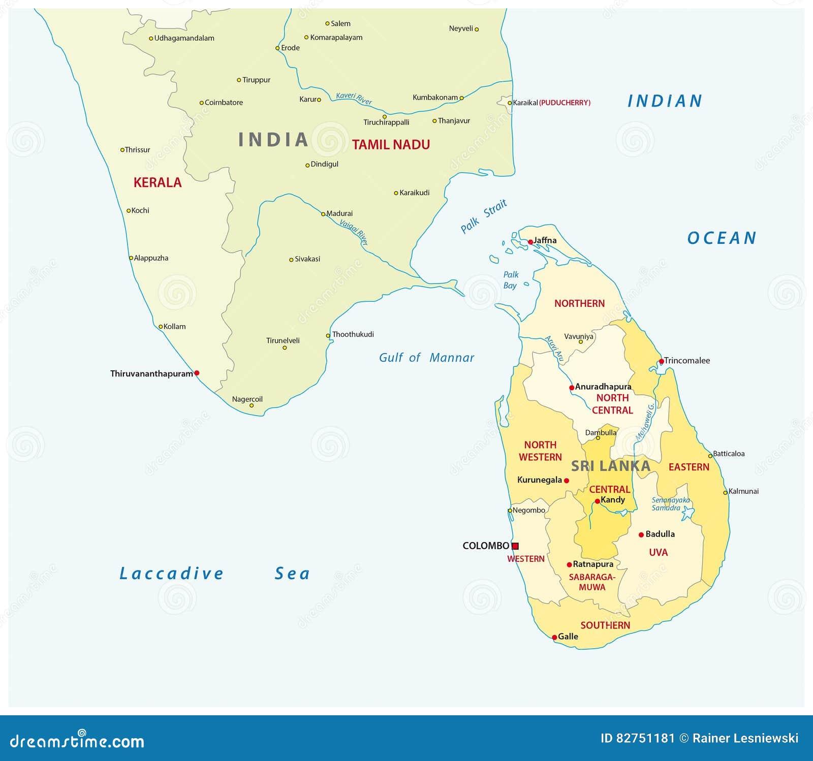 Carte Inde Et Sri Lanka.Carte Administrative Du Sri Lanka Et De L Inde Du Sud