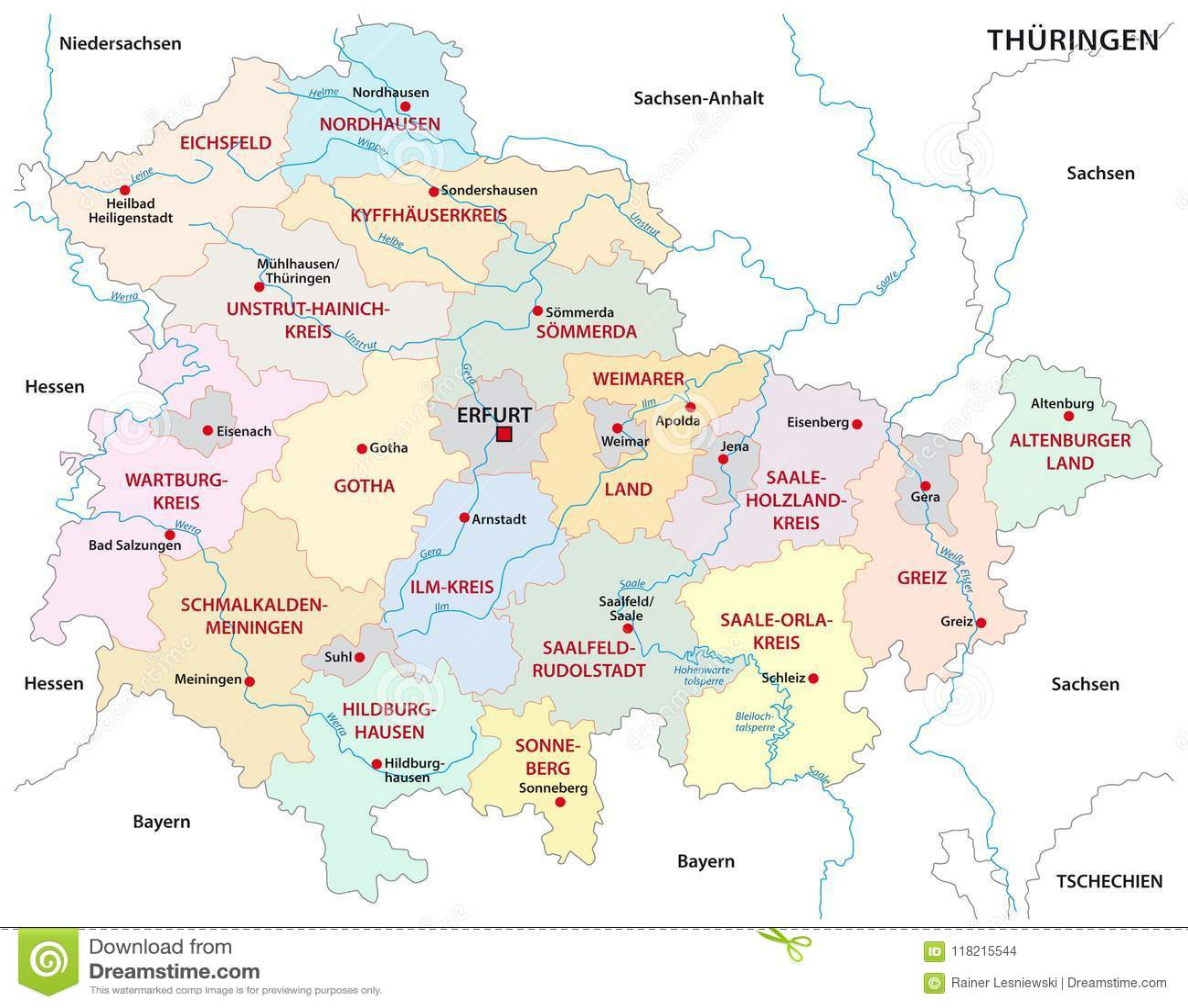 Carte Allemagne Thuringe.Carte Administrative Et Politique De Thuringe De Vecteur