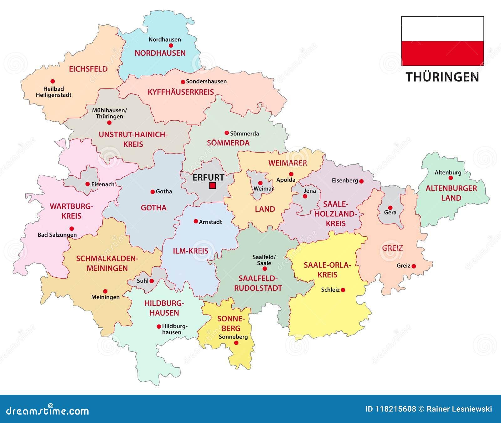 Carte Allemagne Thuringe.Carte Administrative Et Politique De Thuringe De Vecteur Avec Le