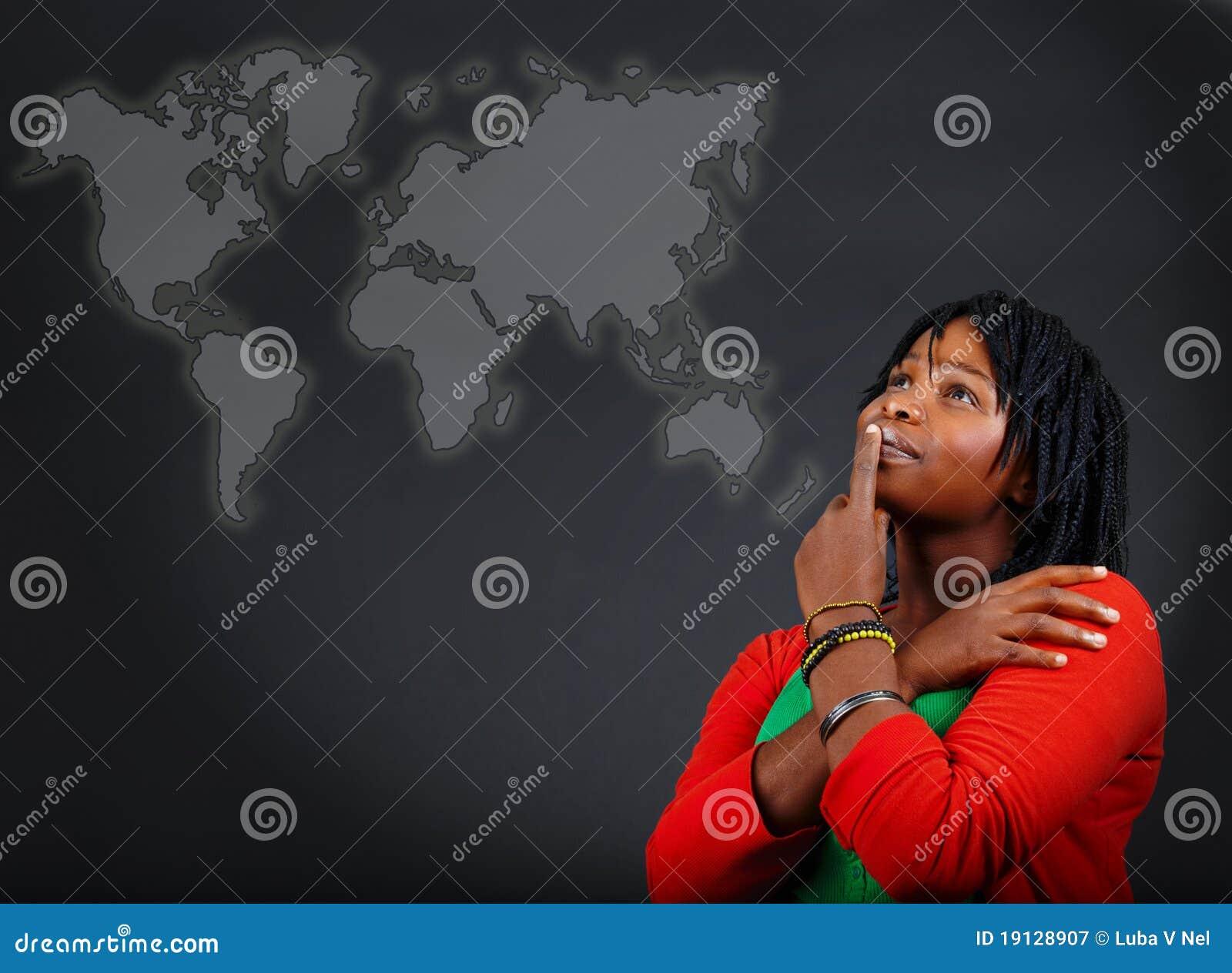 Carte africaine de femme et du monde