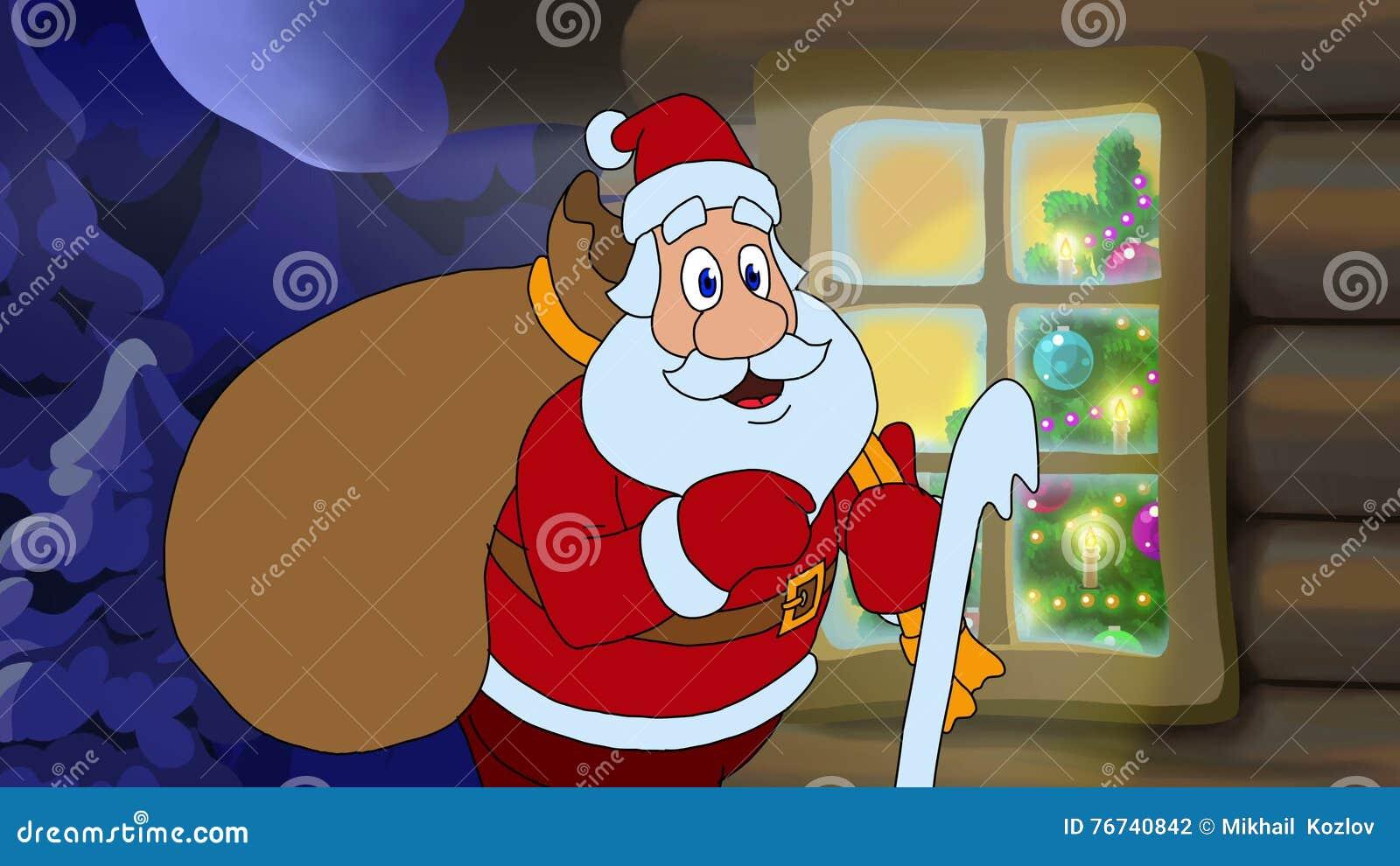 Carte Animée De Noël Avec Le Personnage De Dessin Animé Santa Claus ...