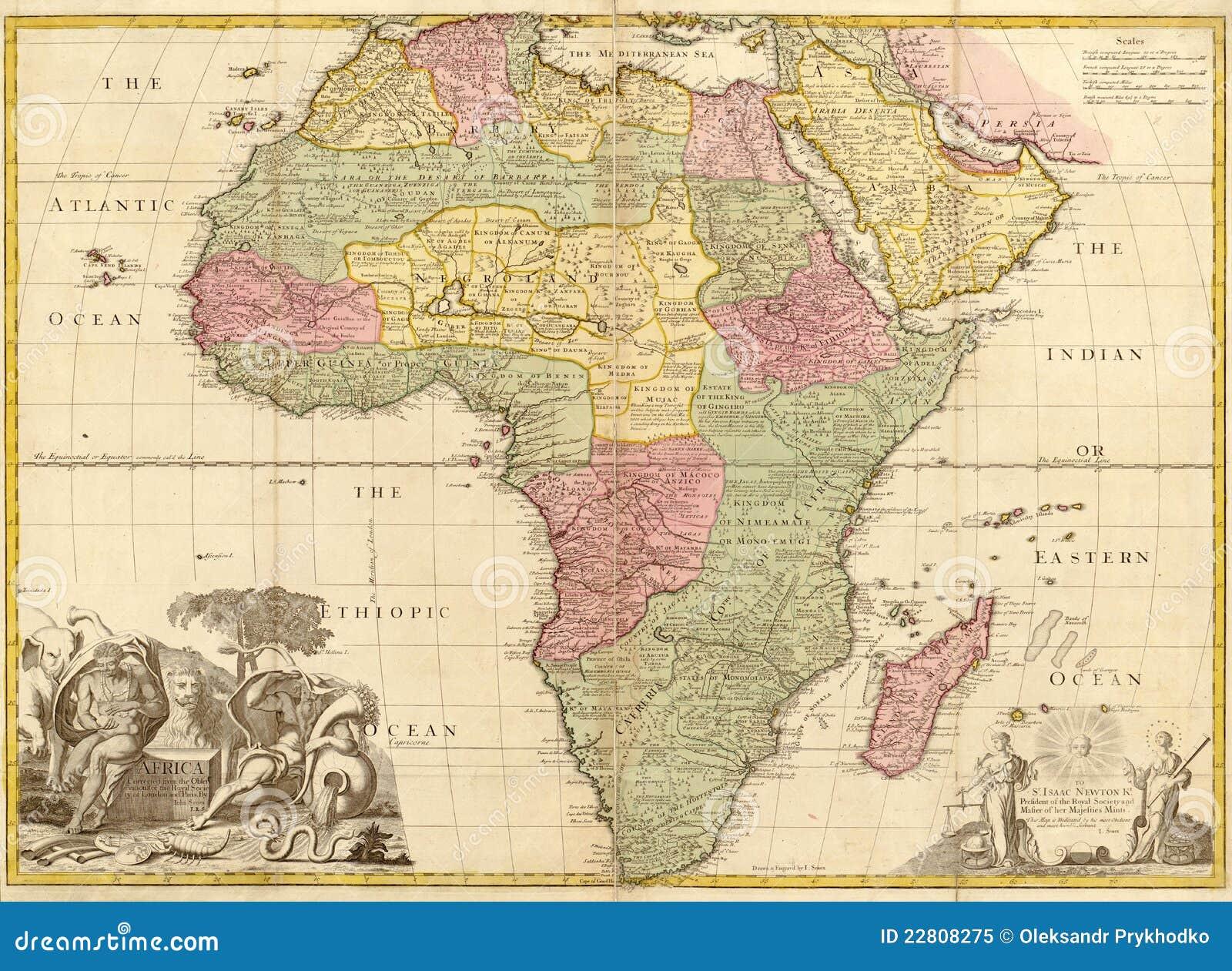 Carte De Lafrique Antique.Carte Antique De L Afrique Illustration Stock Illustration