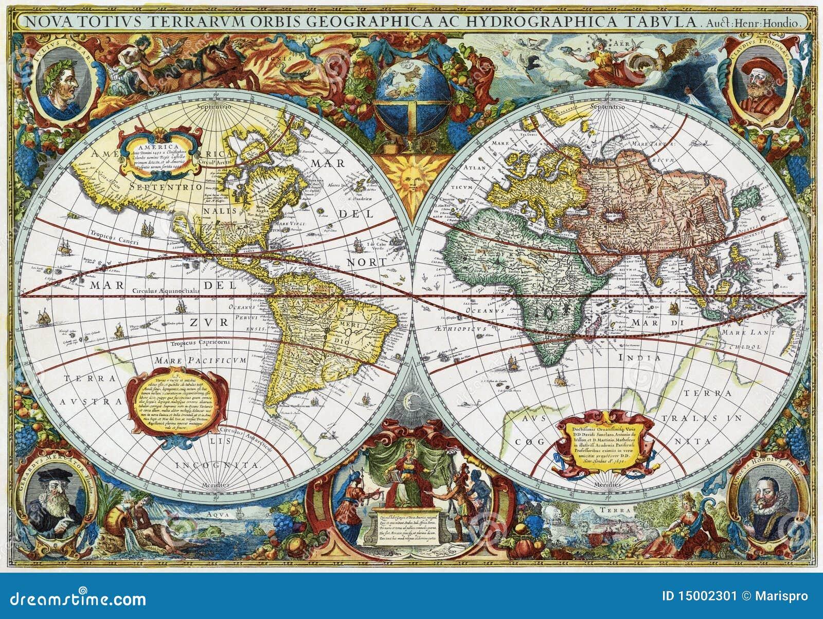 Connu Carte Antique De Monde Médiéval Image stock - Image: 15002301 AC27