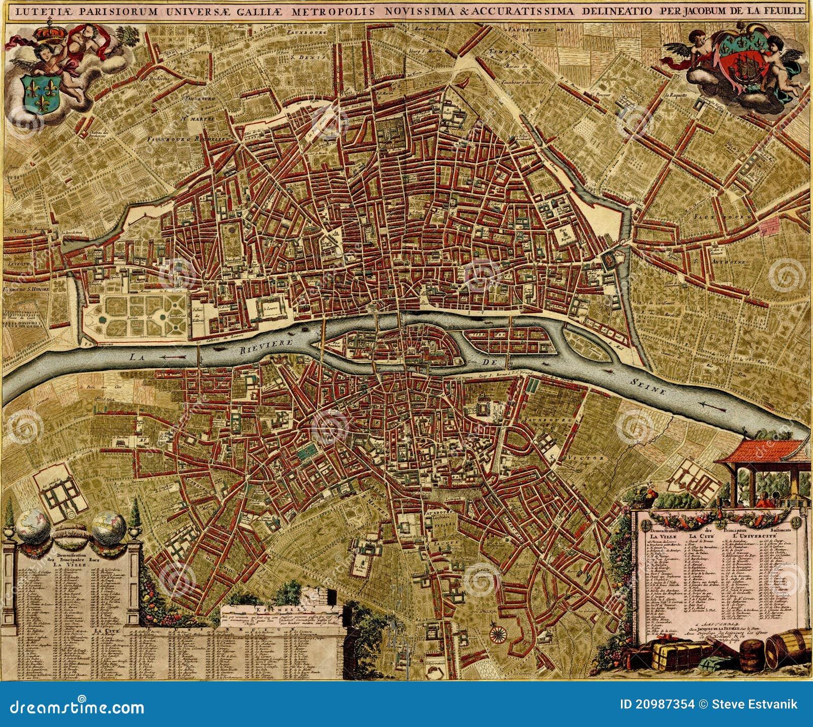 Carte antique de paris illustration stock illustration du - Latitude de paris ...