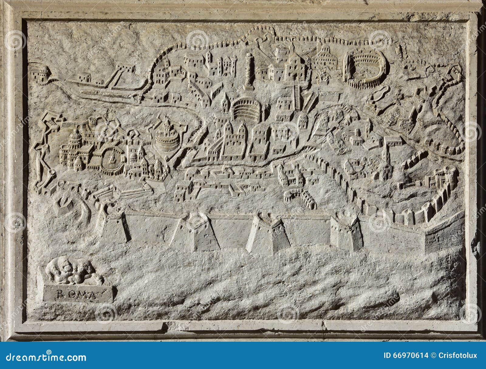 Carte antique de Rome, la ville éternelle