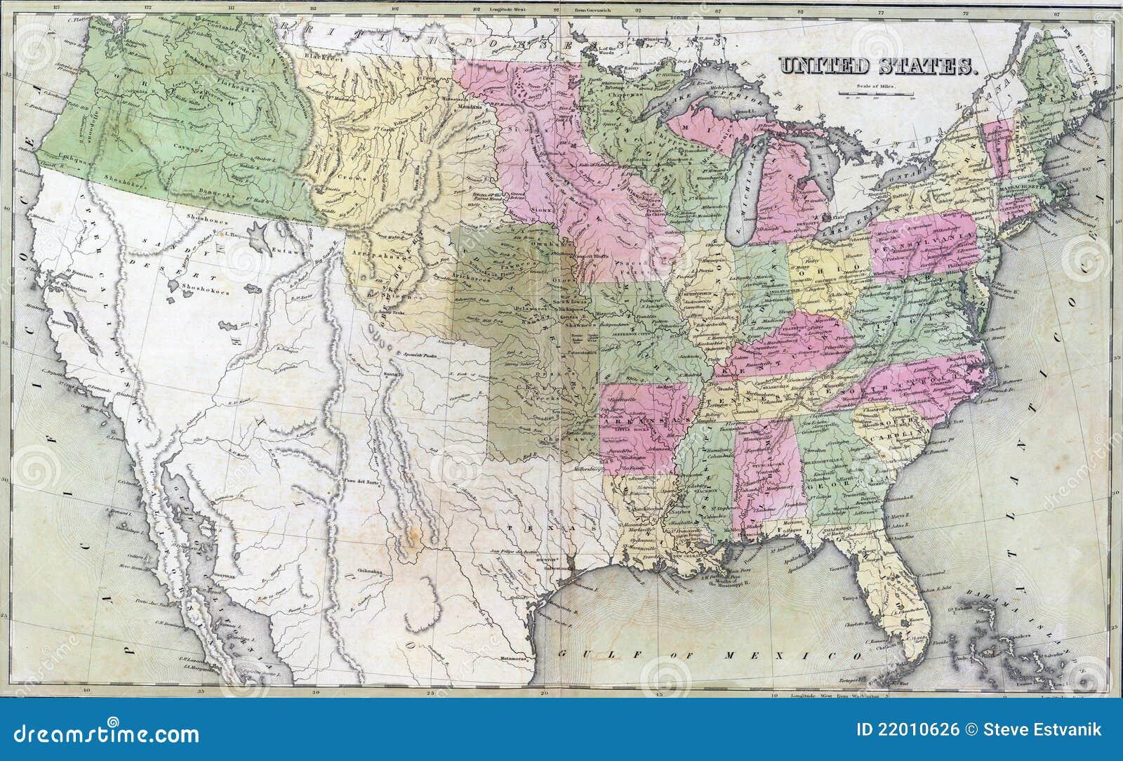 Carte antique des Etats-Unis