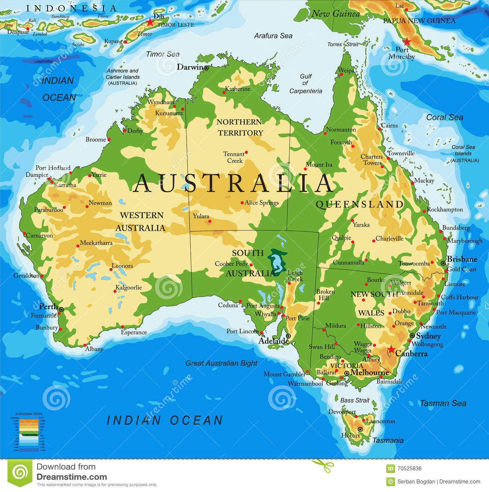 Carte Australie Grande Ville.Carte Australie Physique Illustration De Vecteur Illustration Du