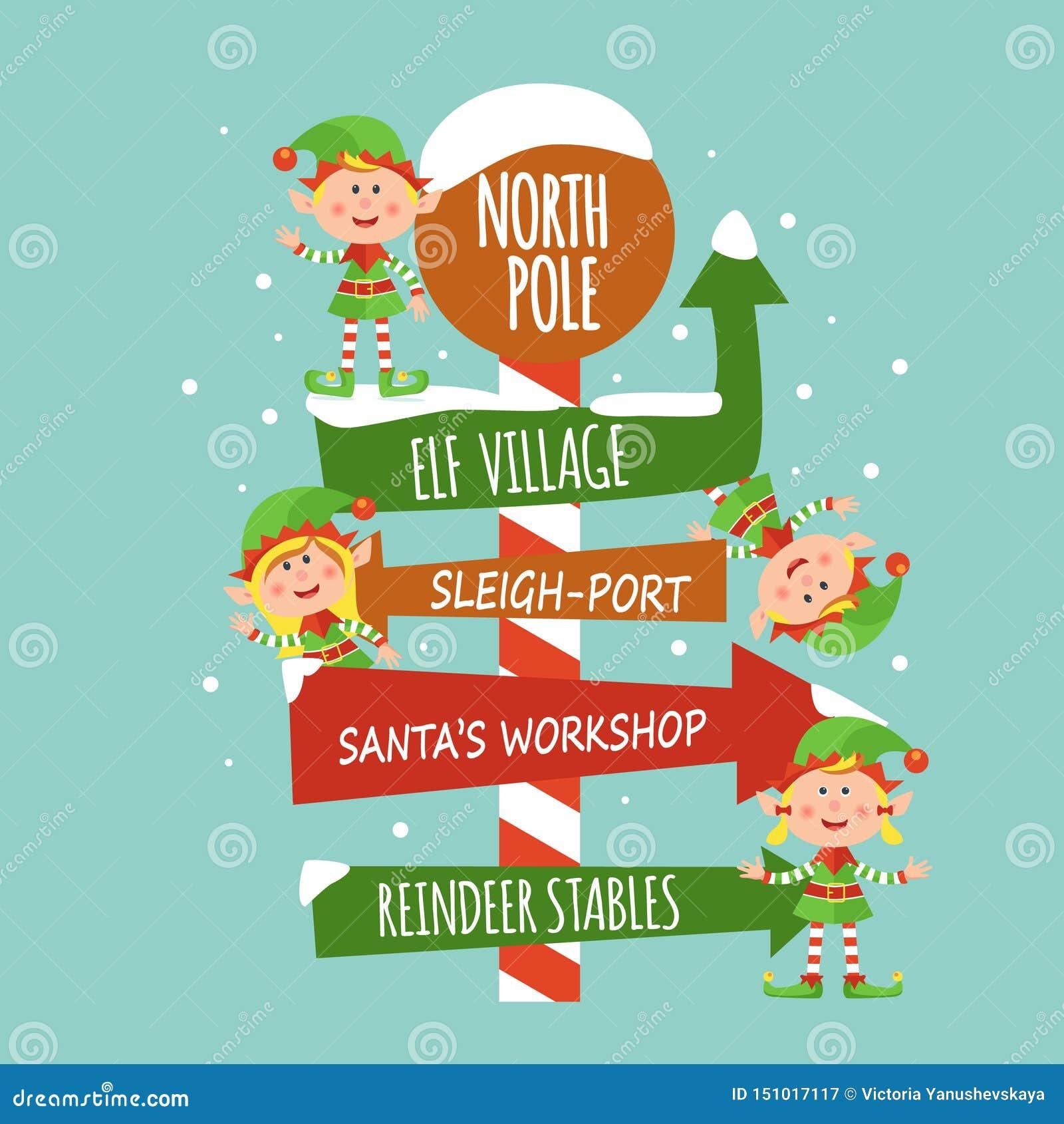 Carte avec des elfes et le signe du Pôle Nord