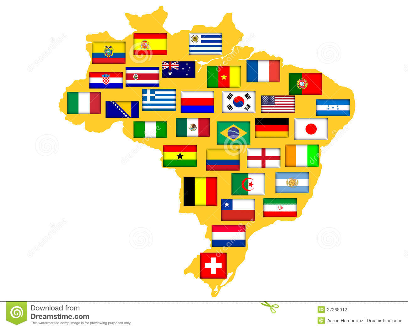 Carte avec des nations qualifiées pour le tournoi 2014.