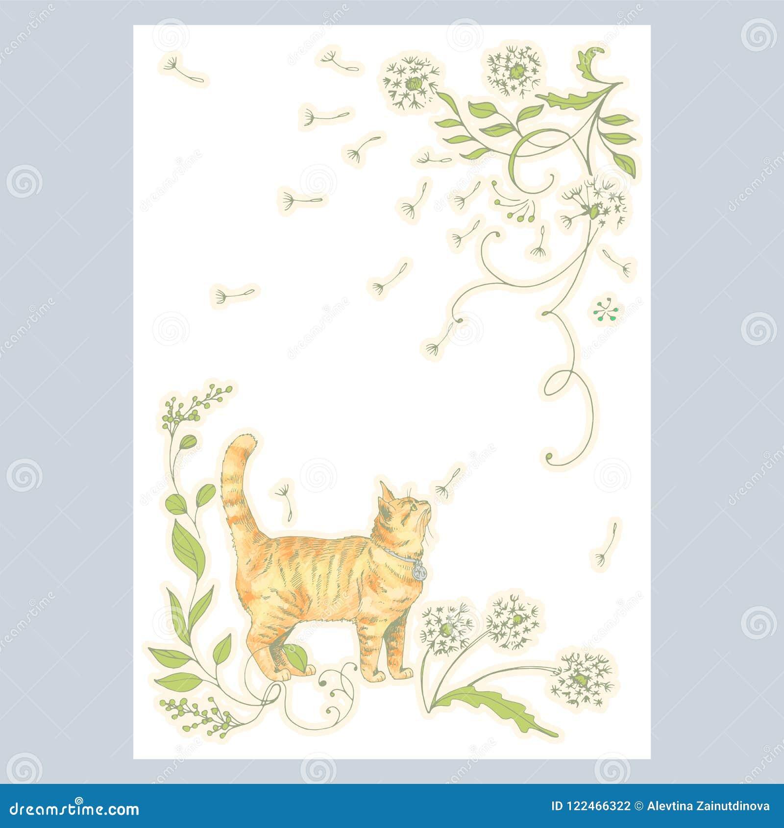 Carte Avec Le Chat Mignon De Dessin De Main Et Les Plantes