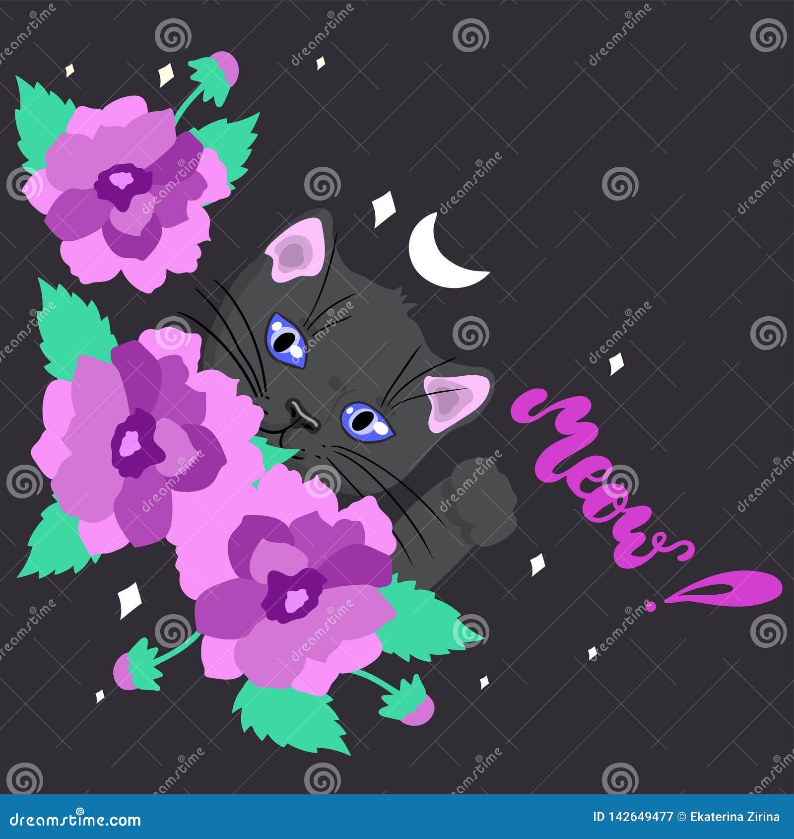 Carte avec un chat noir mignon parmi l image de vecteur de fleurs