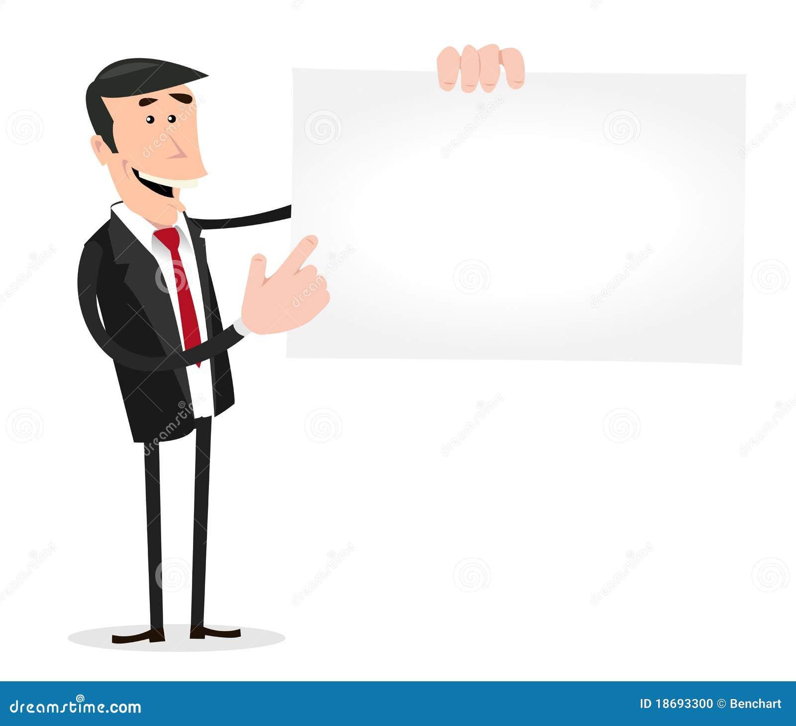 Illustration Dun Homme Daffaires Blanc De Dessin Anime Affichant A Sien La Carte Visite