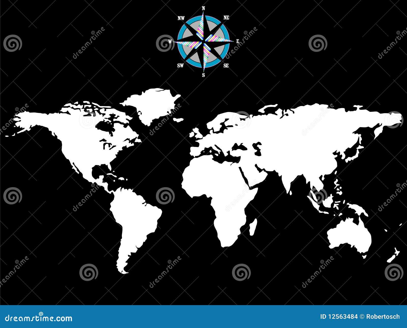 Carte Blanche Du Monde Avec La Rose De Vent D'isolement Sur Le
