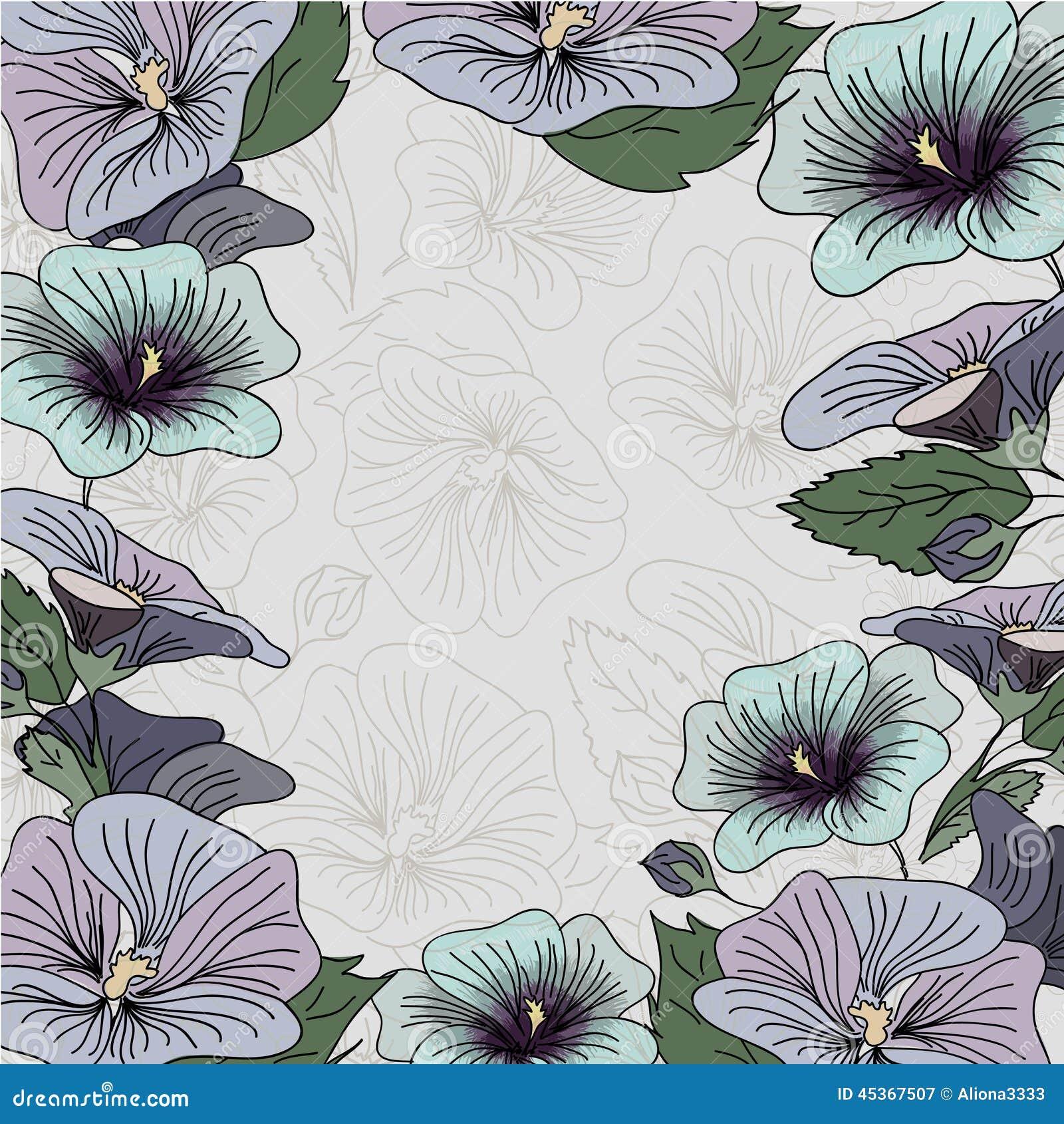 Carte bleue et pourpre de cadre de fleur