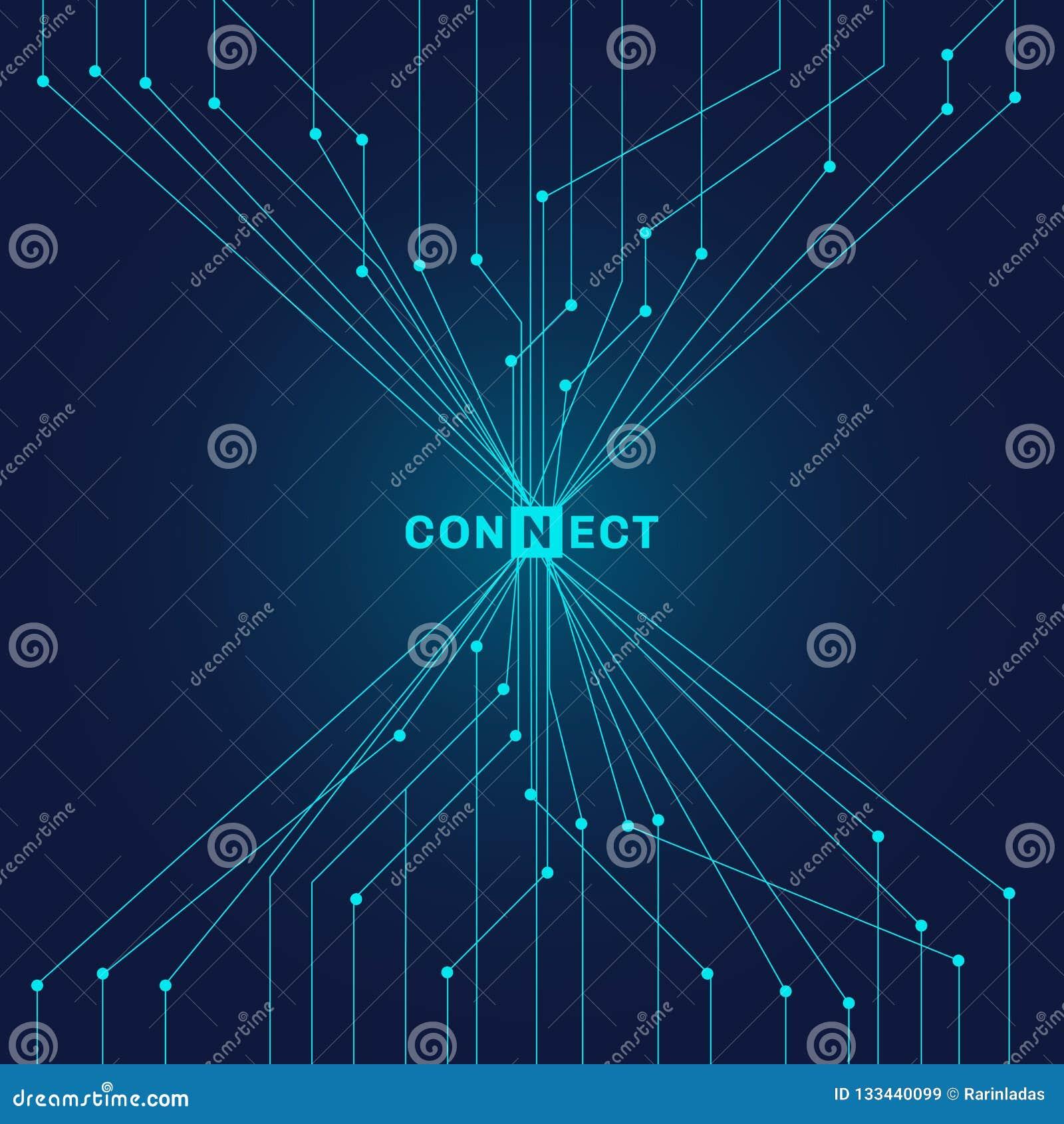 Carte bleue futuriste de résumé sur le digita foncé de fond
