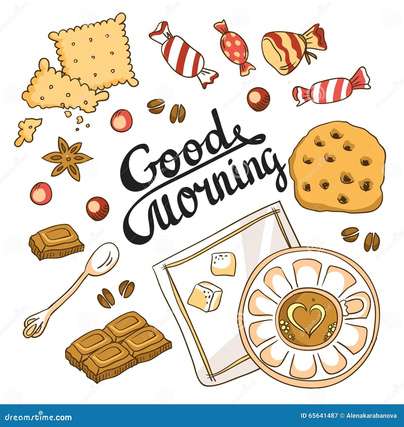 Carte bonjour Conception de menu de petit déjeuner