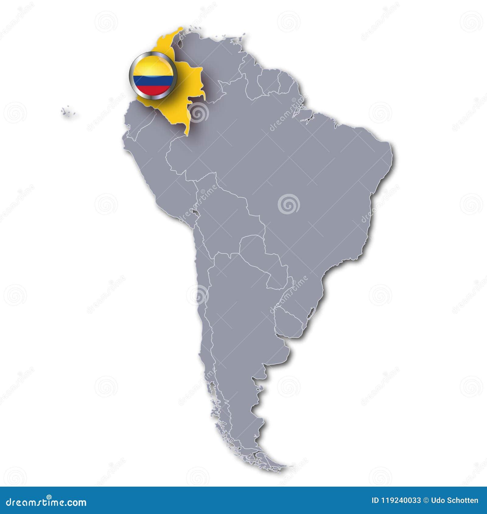 Carte Amerique Du Sud Colombie.Carte Colombie De L Amerique Du Sud Illustration Stock