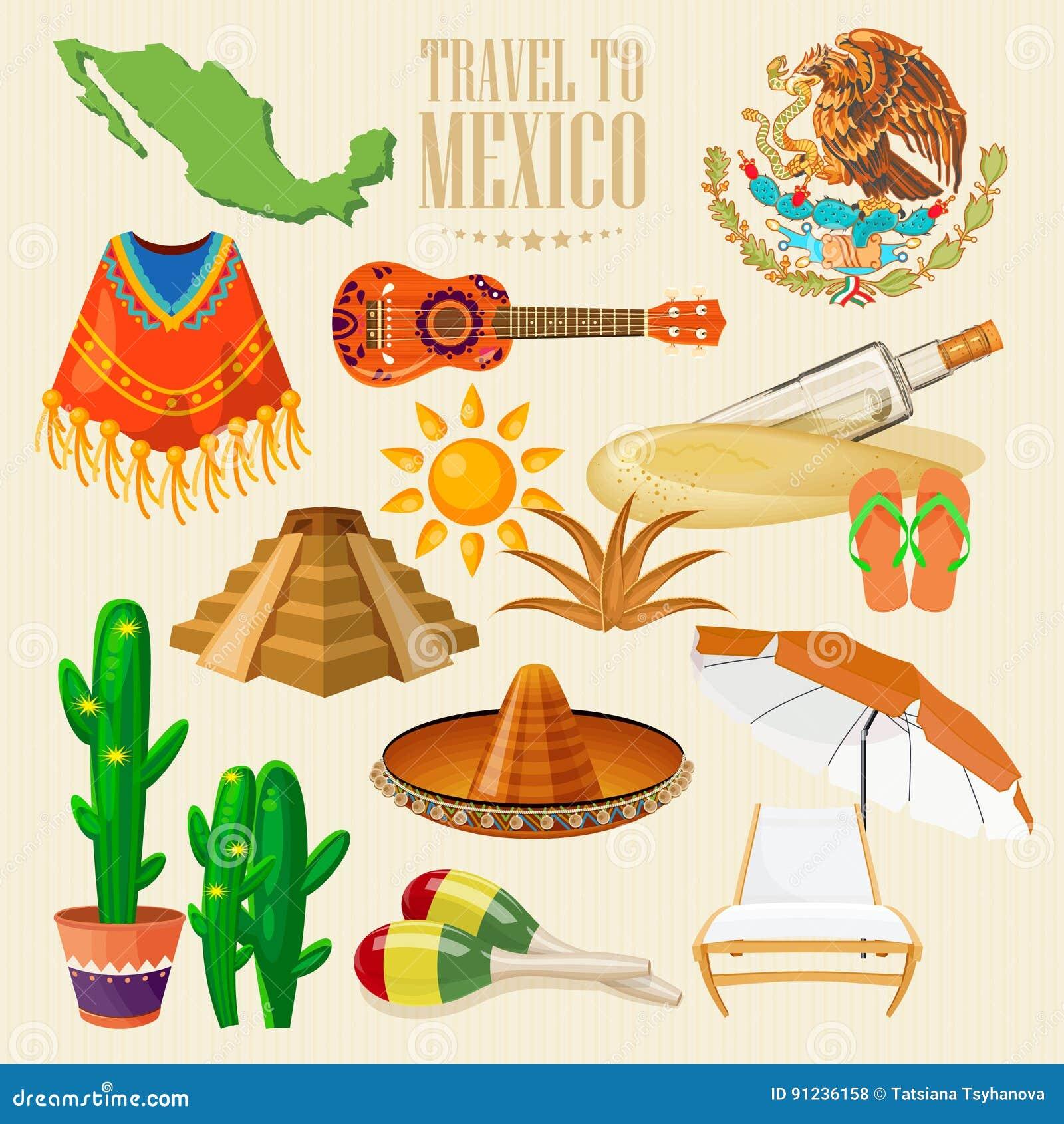 47d3e6b09183 Carte colorée de vecteur au sujet du Mexique Affiche de voyage Fond clair  cinco de mayo Dias de Buenos Viva Mexique Ressource tropicale Ensemble de  Mexicain ...