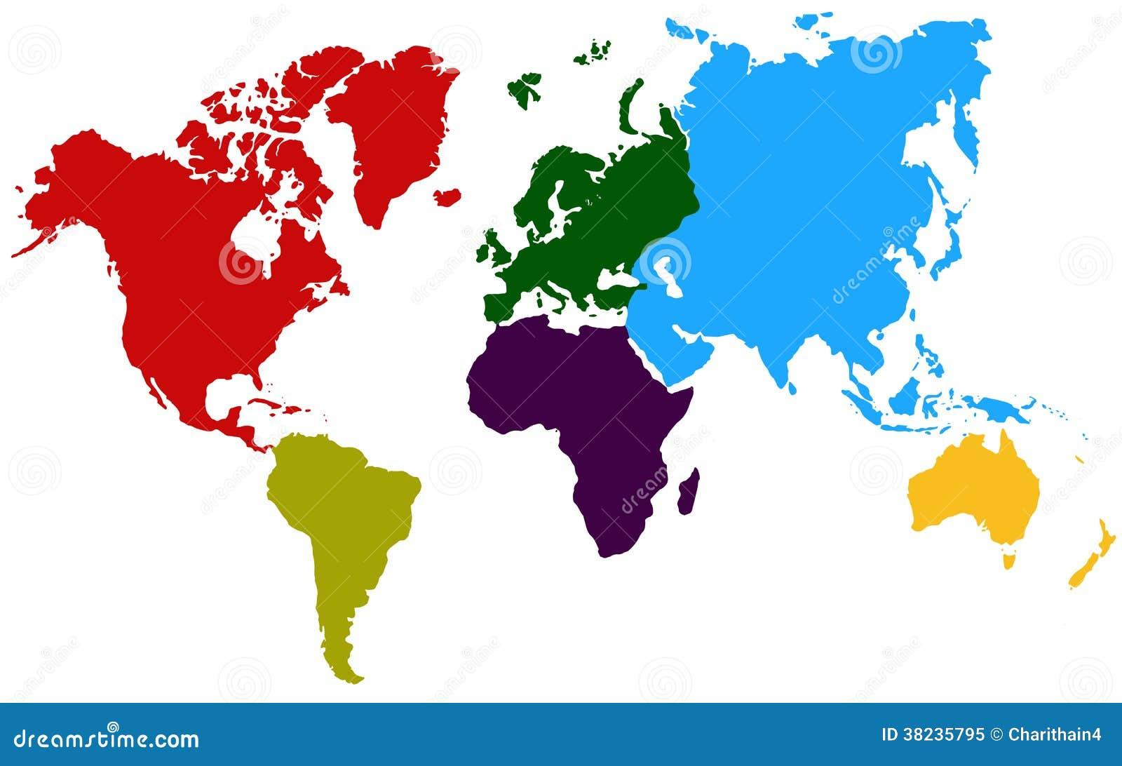 Carte colorée du monde de continents