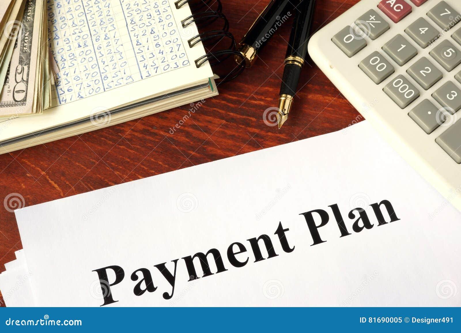 Carte con il piano di pagamento di titolo
