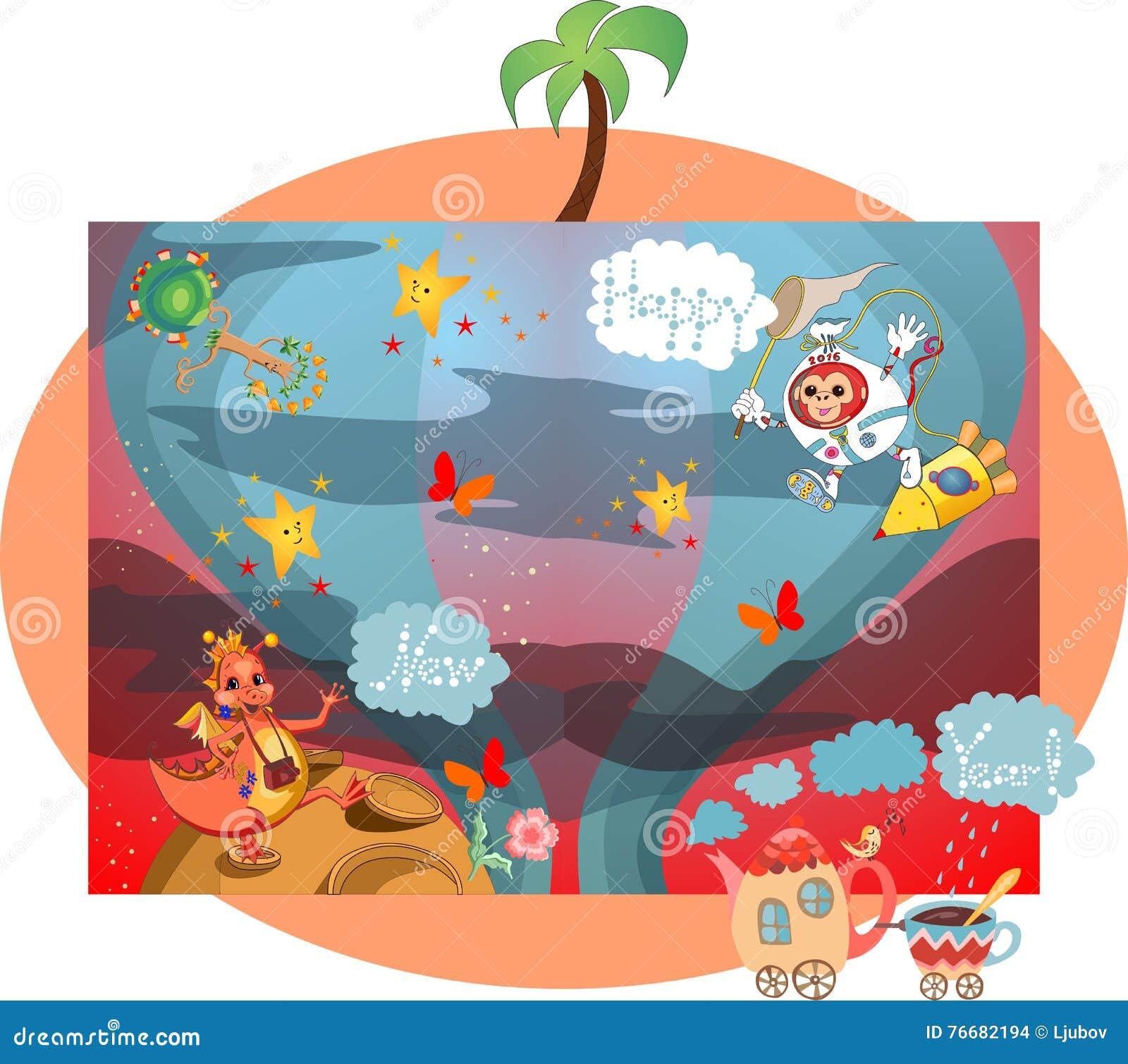 Carte créative de bonne année avec le dragon, le singe, la théière, la tasse, les étoiles, les papillons et les arbres dans l esp