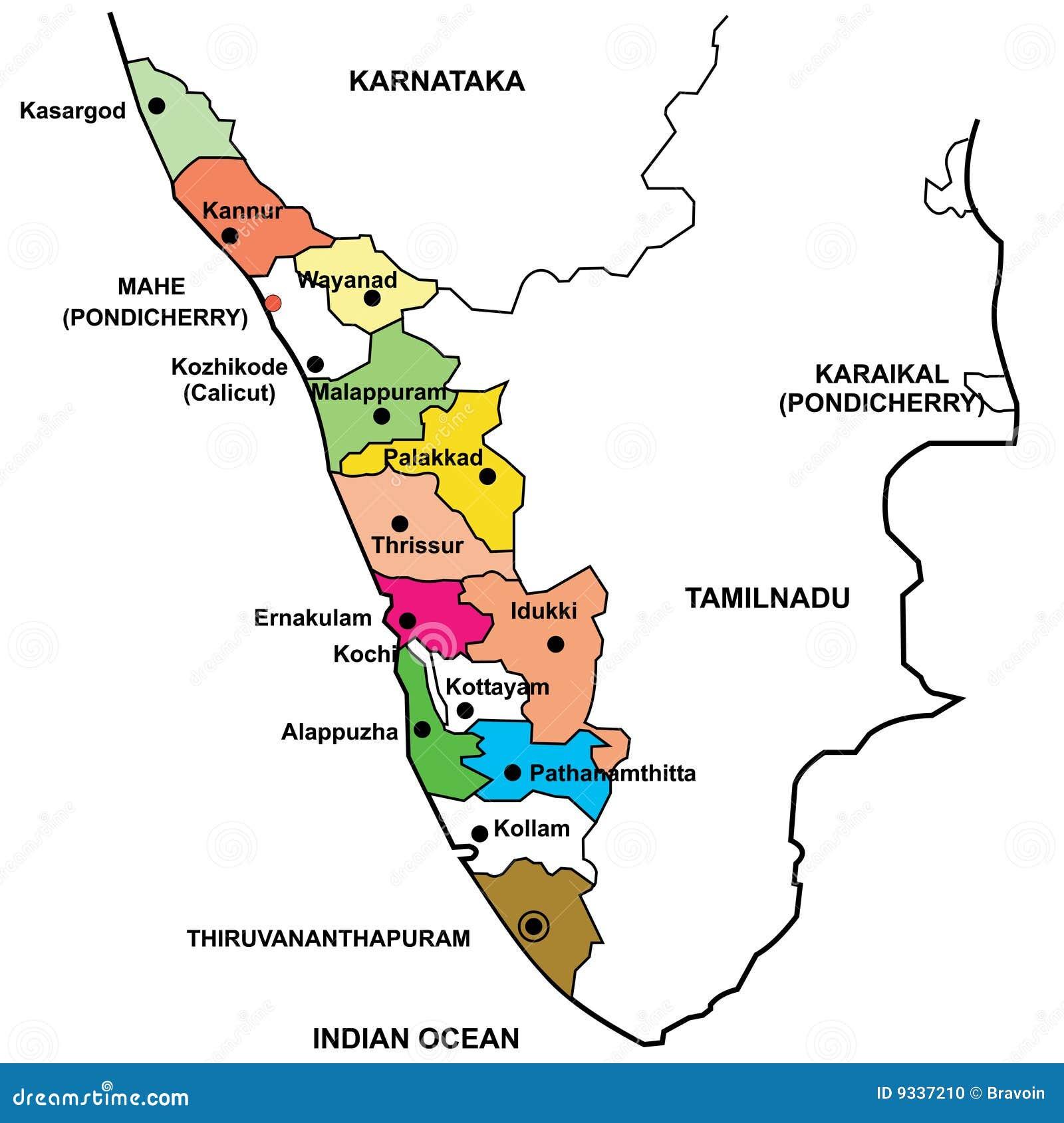 Carte détaillée du Kerala